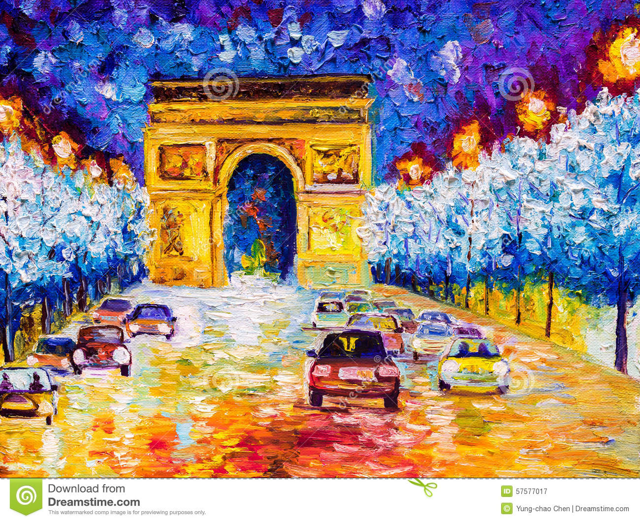 peinture l 39 huile arc de triomphe paris illustration stock illustration du impressionnant. Black Bedroom Furniture Sets. Home Design Ideas