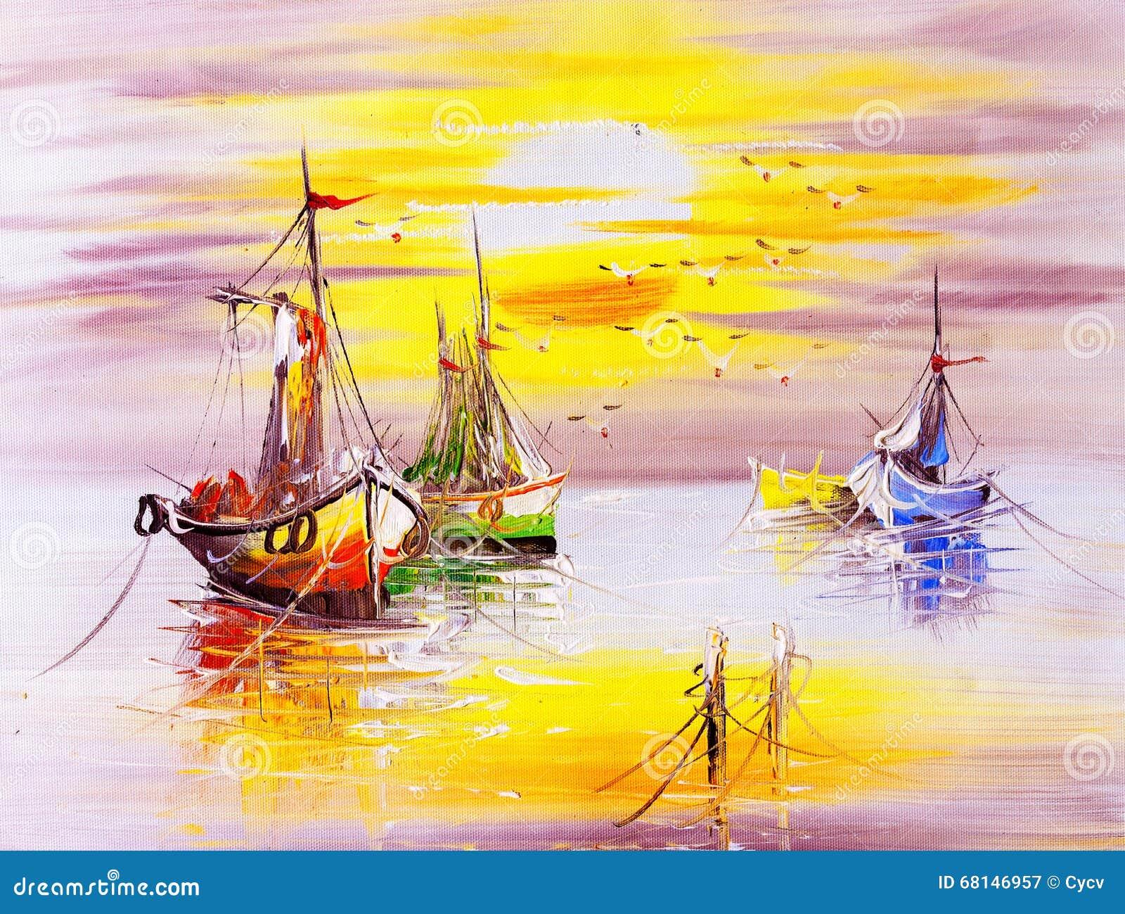 Peinture à l huile - bateau
