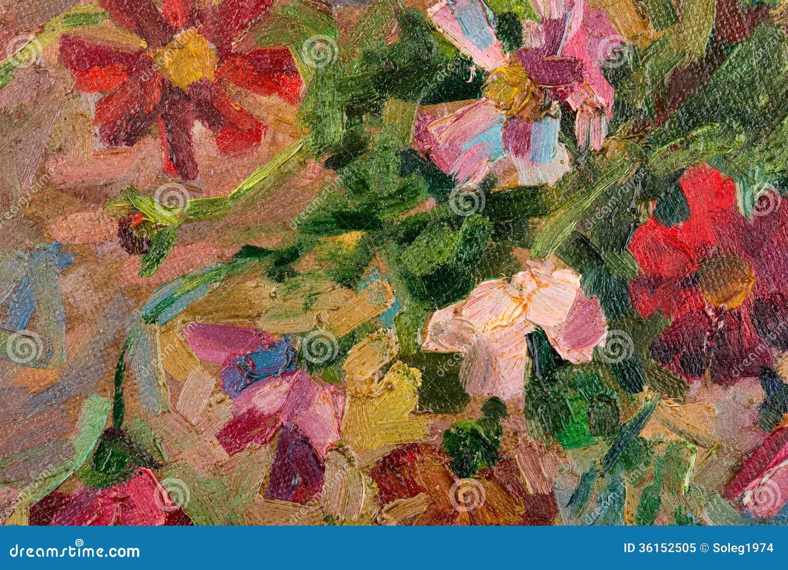 Peinture l 39 huile color e abstraite de fond sur la toile photo libre de - Peinture abstraite a l huile ...