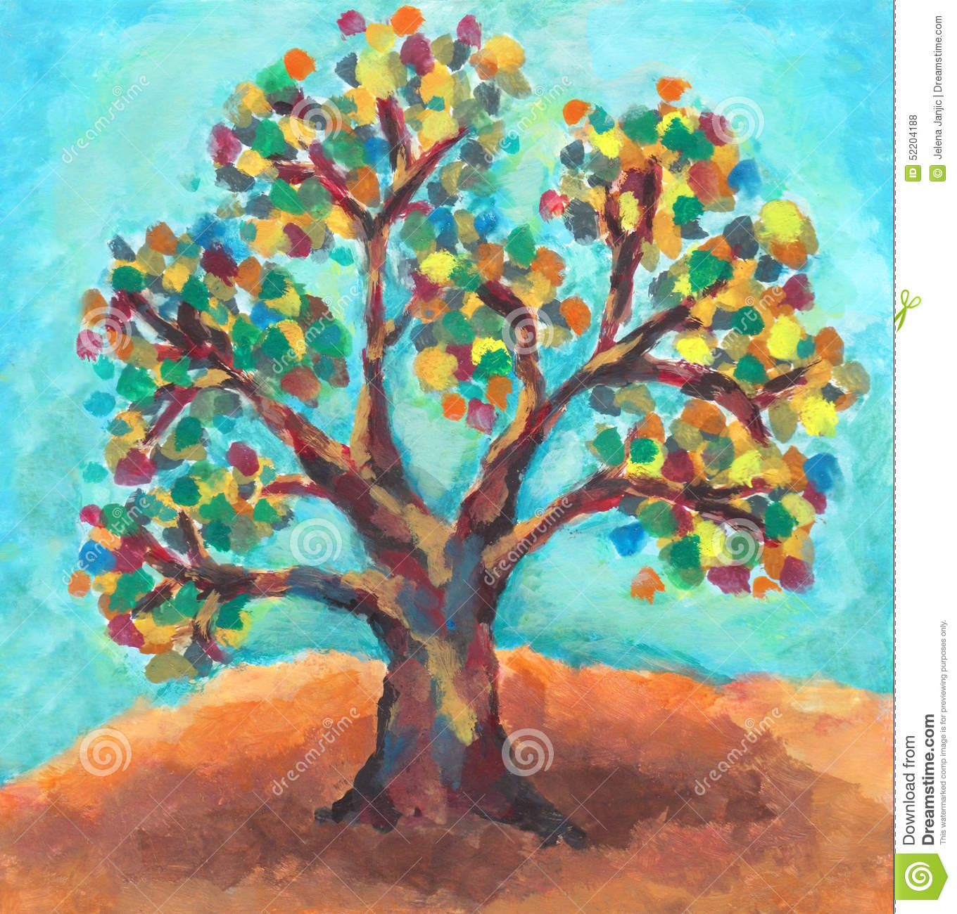 Peinture l 39 huile d 39 arbre color illustration stock for Pintura color albero