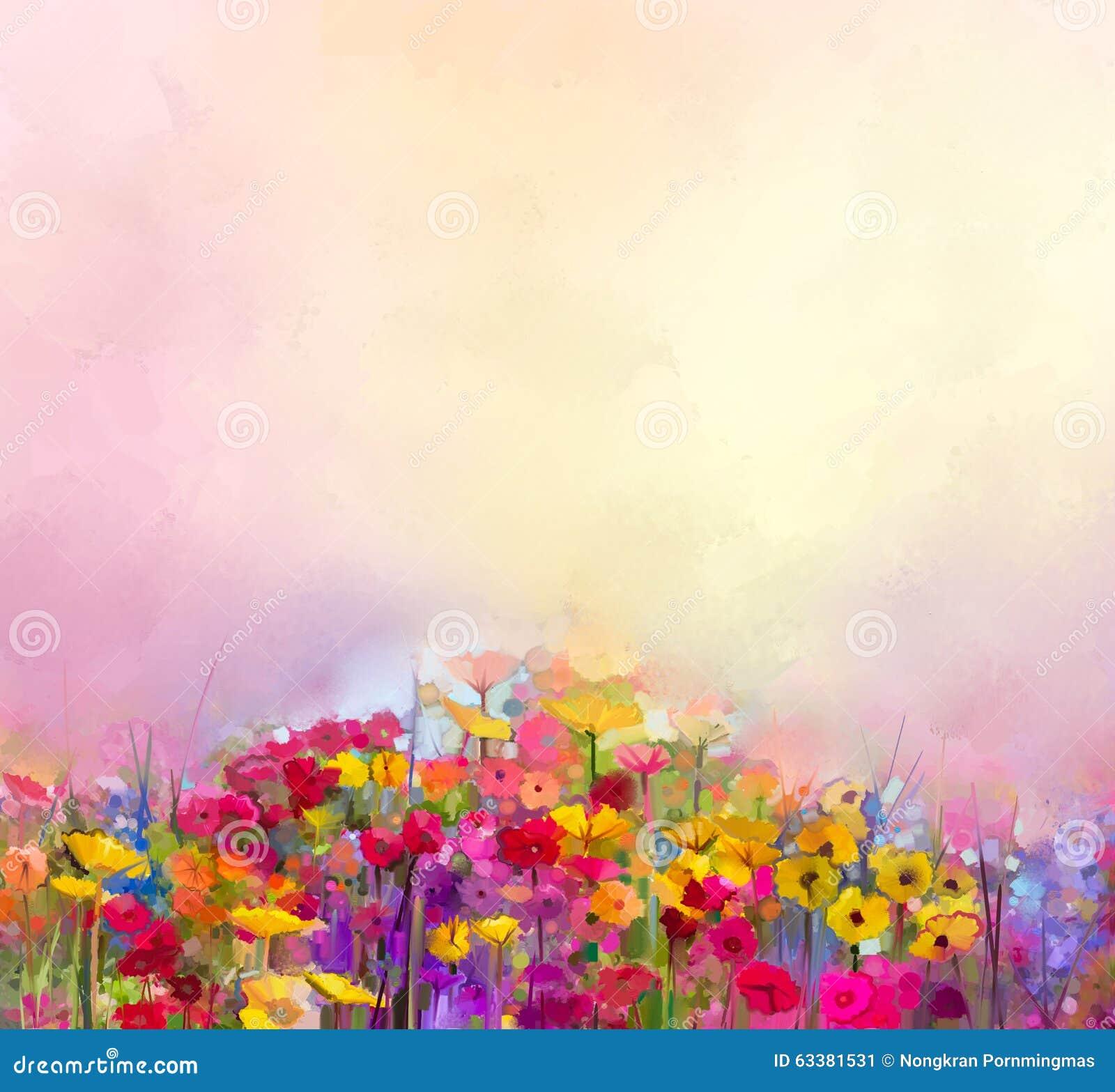 Peinture à l huile d art abstrait de fleur d été-ressort Pré, paysage avec le wildflower