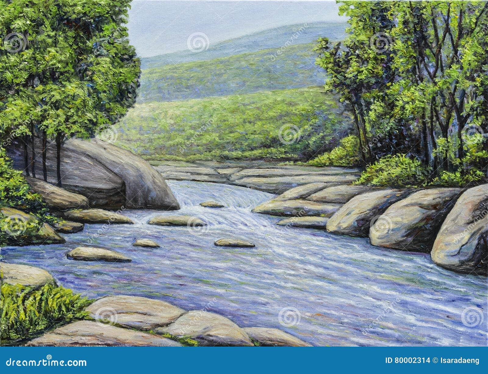 Peinture à L'huile De Beau Courant De Rivière Photo stock - Image du fond, métier: 80002314