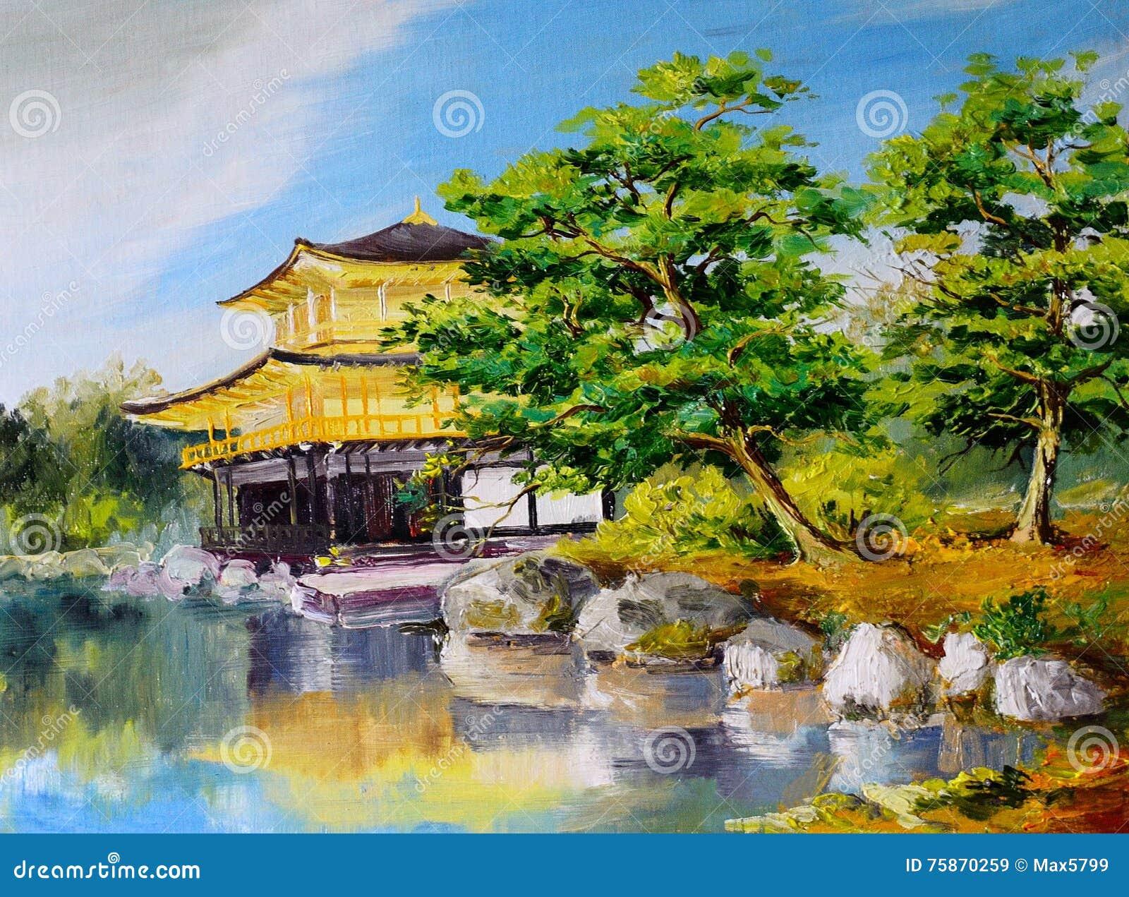 peinture l 39 huile jardin japonais lac pr s de la. Black Bedroom Furniture Sets. Home Design Ideas