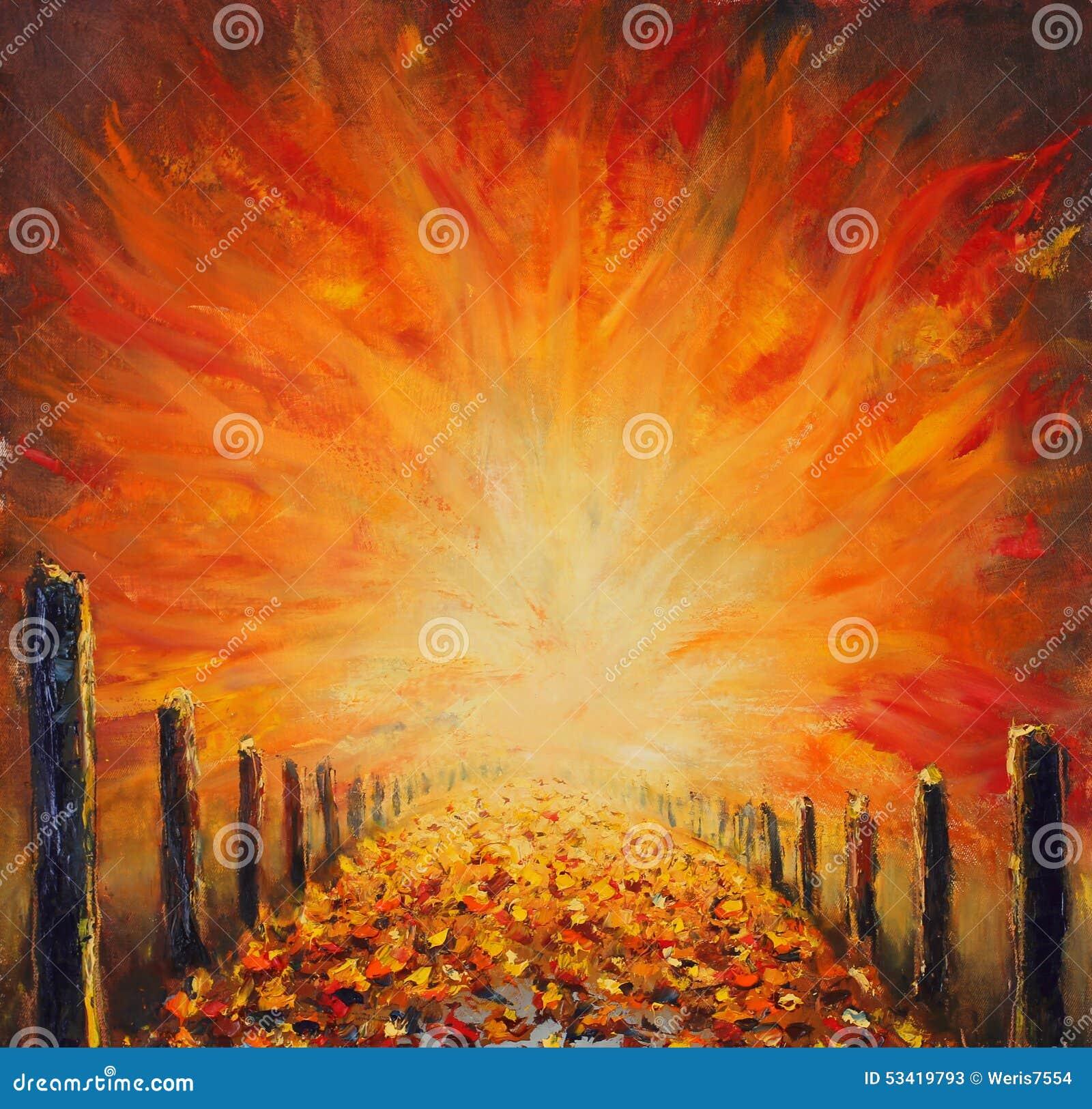 Peinture l 39 huile originale de la route lumi re rouge abstraite sur la - Peinture a l huile achat ...