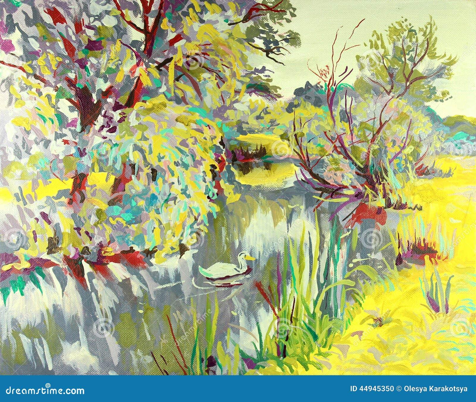Peinture l 39 huile originale de paysage d 39 t illustration stock im - Peinture a l huile achat ...