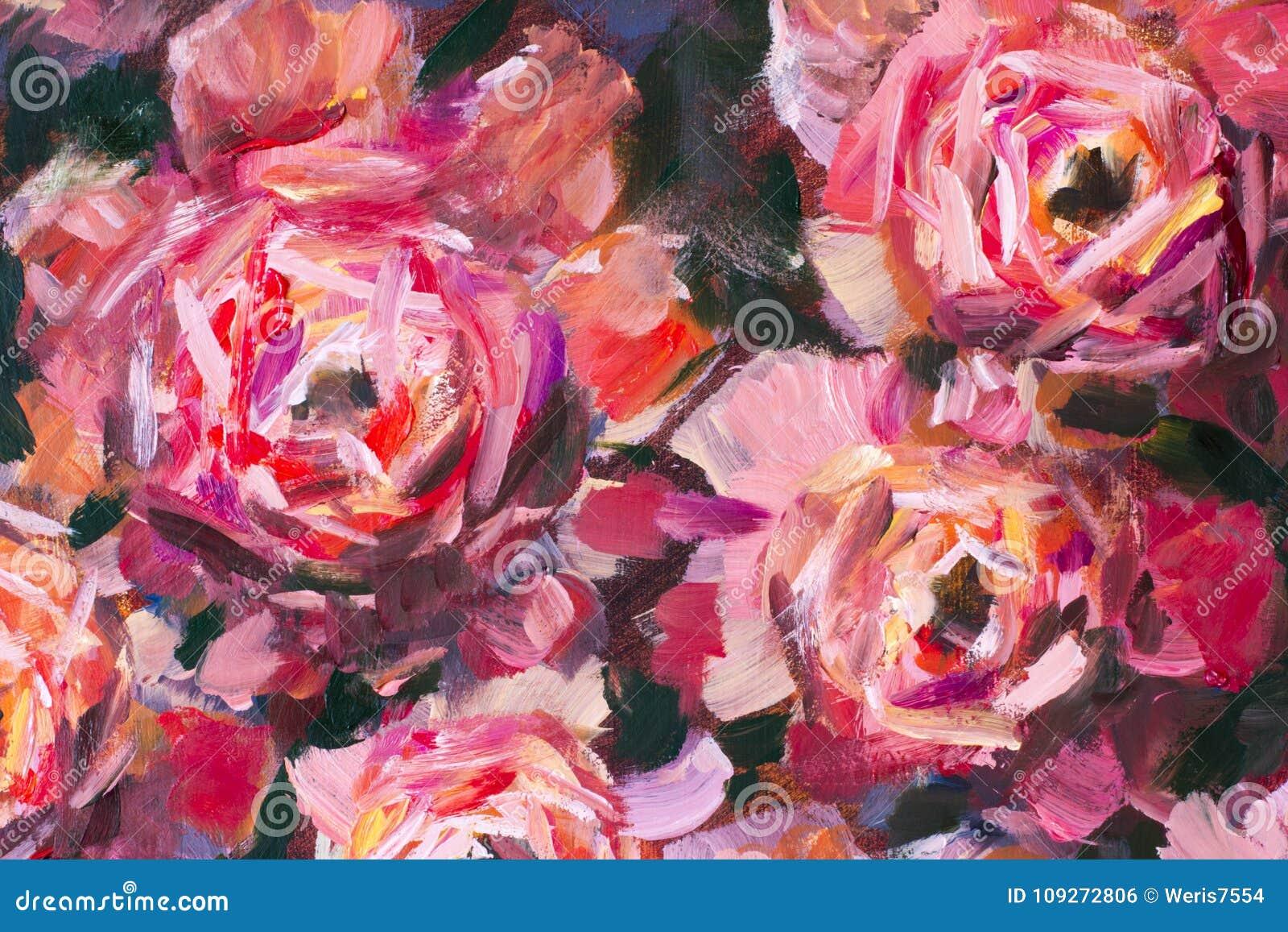 Peinture à L'huile Rose De Texture De Pivoine