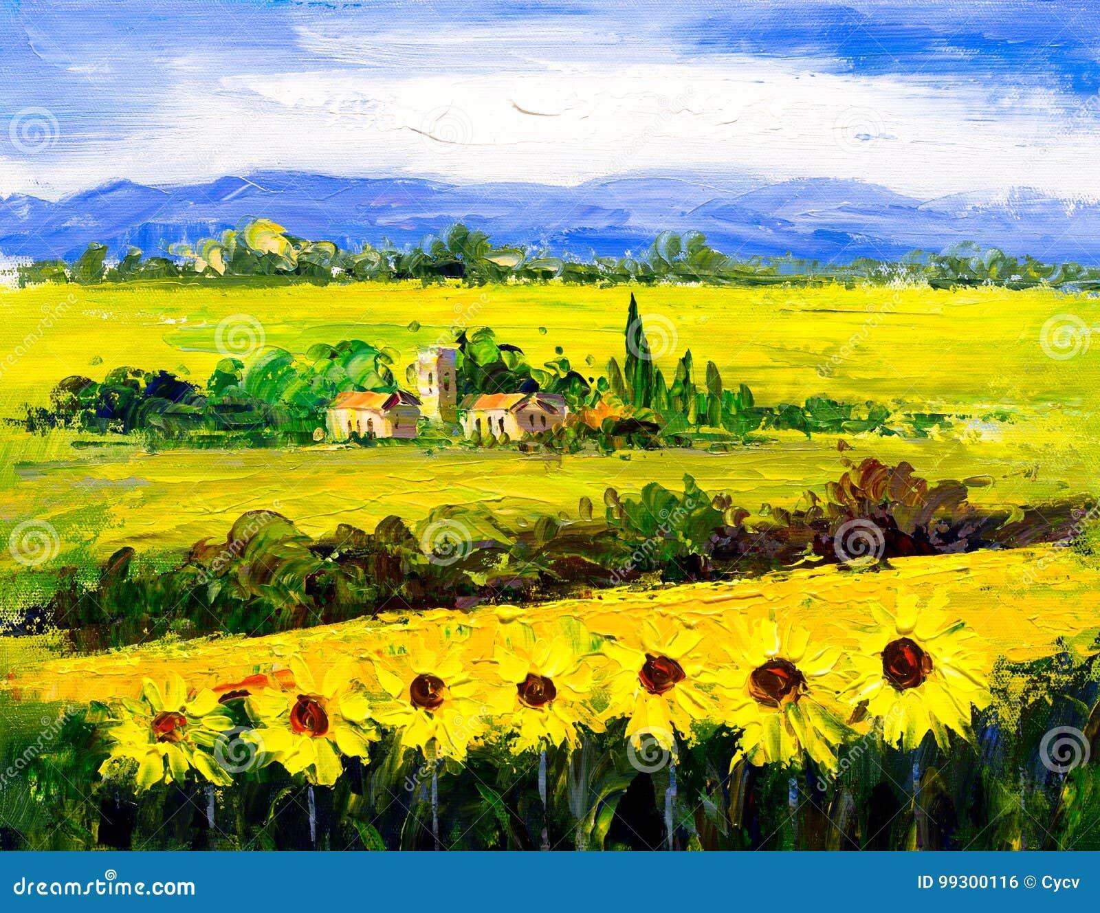Peinture à L'huile - Tournesol Illustration