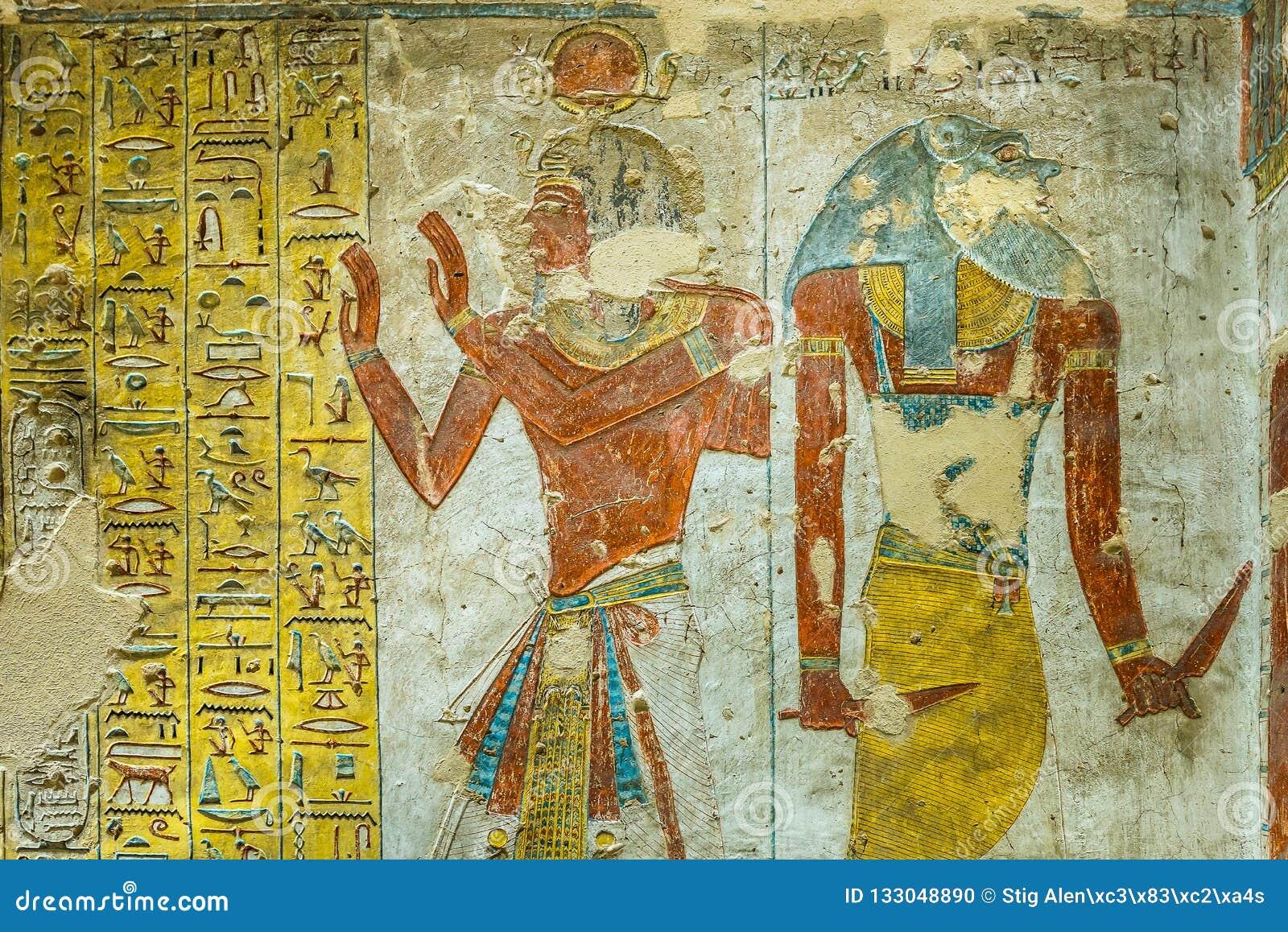 Peinture Egyptienne Antique De Deux Dieux Dans Une Tombe Dans La Vallee De Photo Stock Image Du Tombe Dieux 133048890