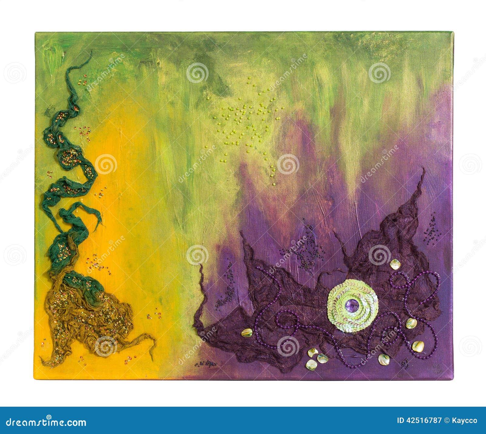 Peinture abstraite avec les perles le tissu et la for Peinture avec paillette de mica