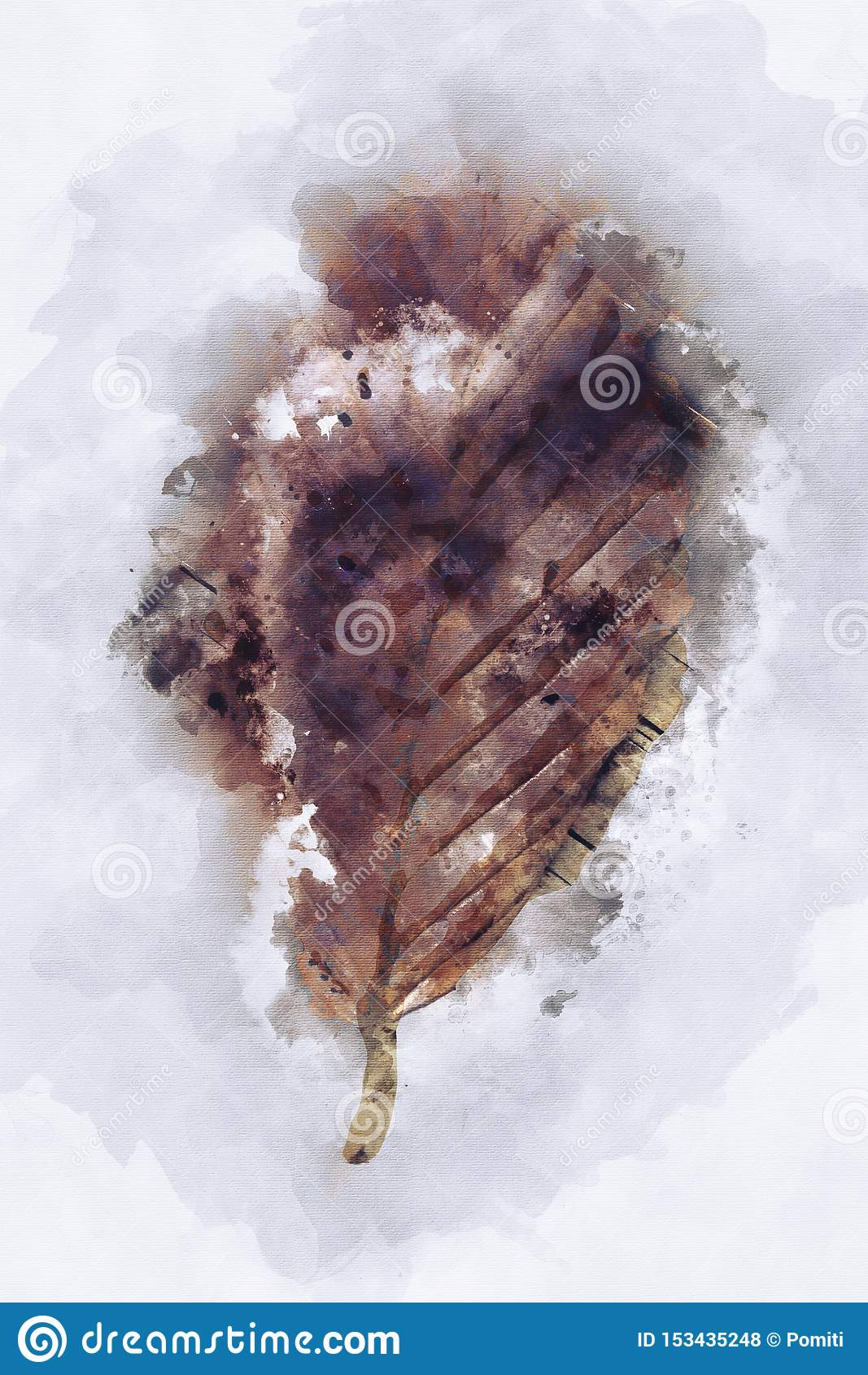 Peinture Abstraite D'aquarelle De Feuille Sèche Dans Le Ton Brun  Illustration Stock - Illustration du peinture, aquarelle: 153435248