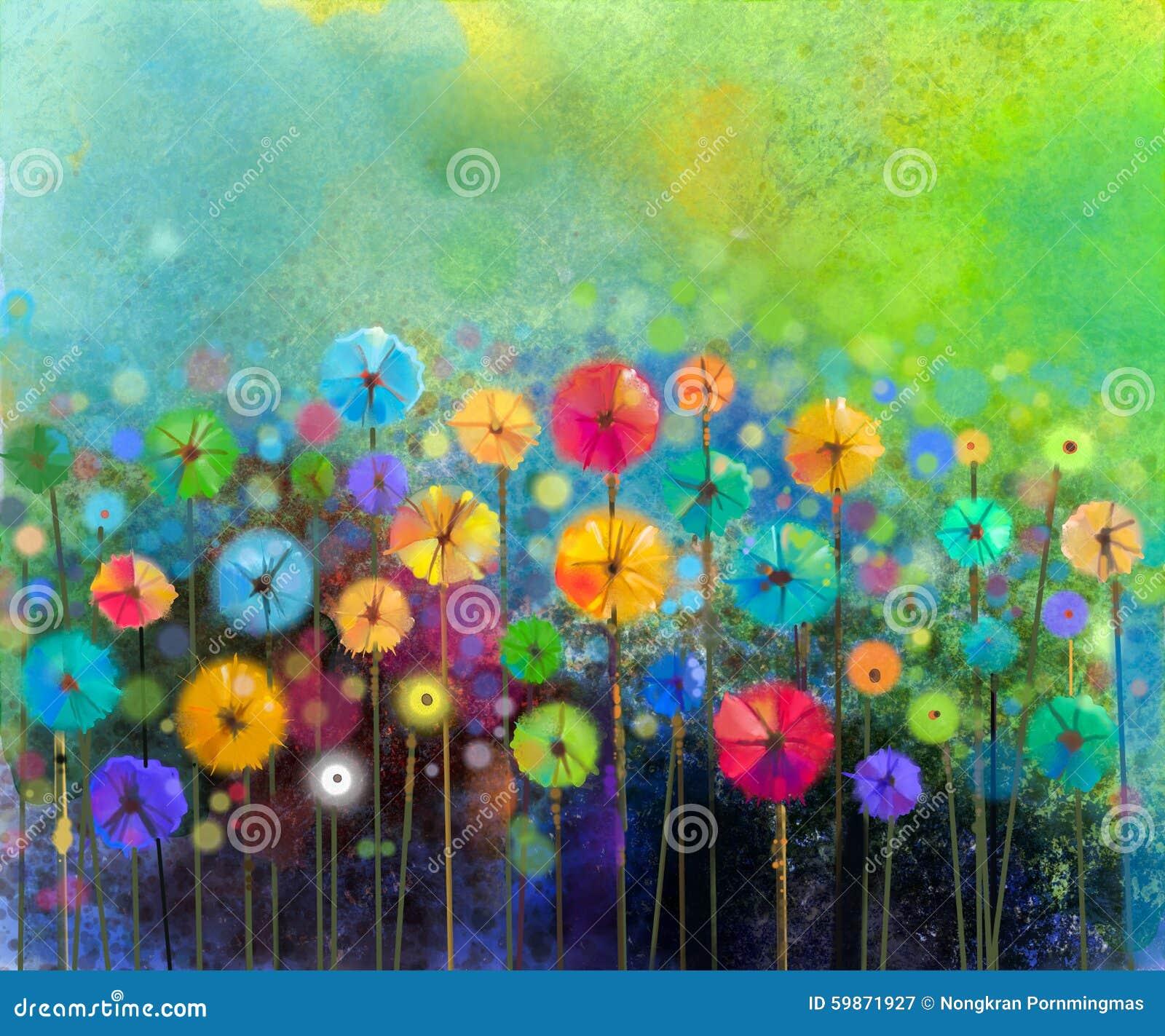 Peinture abstraite d aquarelle de fleur