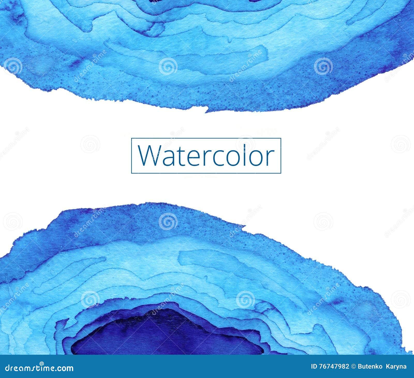 Peinture abstraite d aquarelle Vagues en verre souillé d Art Nouveau Profil onduleux bleu lumineux Boutique de textures de milieu