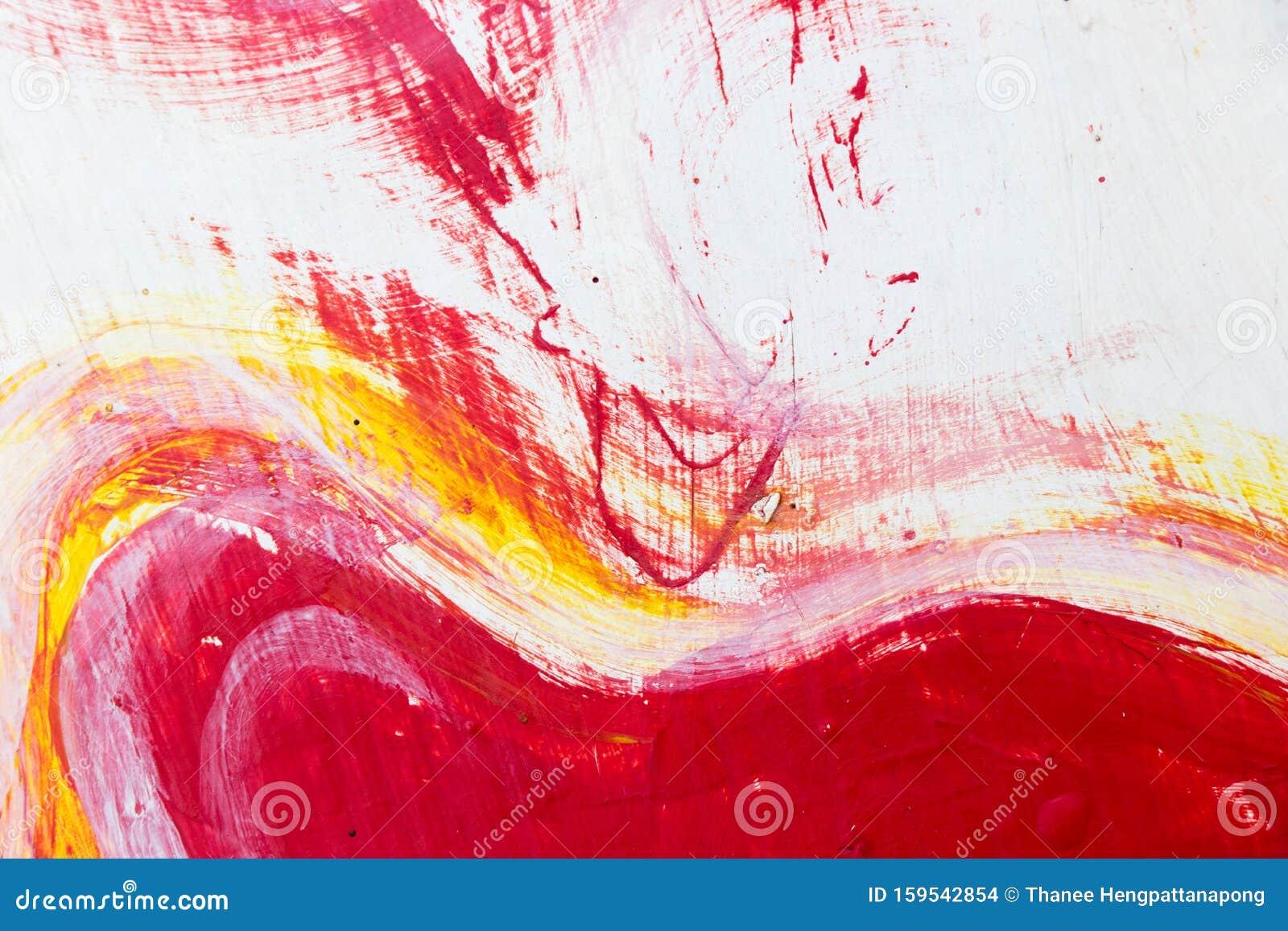 Peinture Abstraite Rouge Blanche Et Jaune Sur Fond De Beton Photo Stock Image Du Rouge Fond 159542854