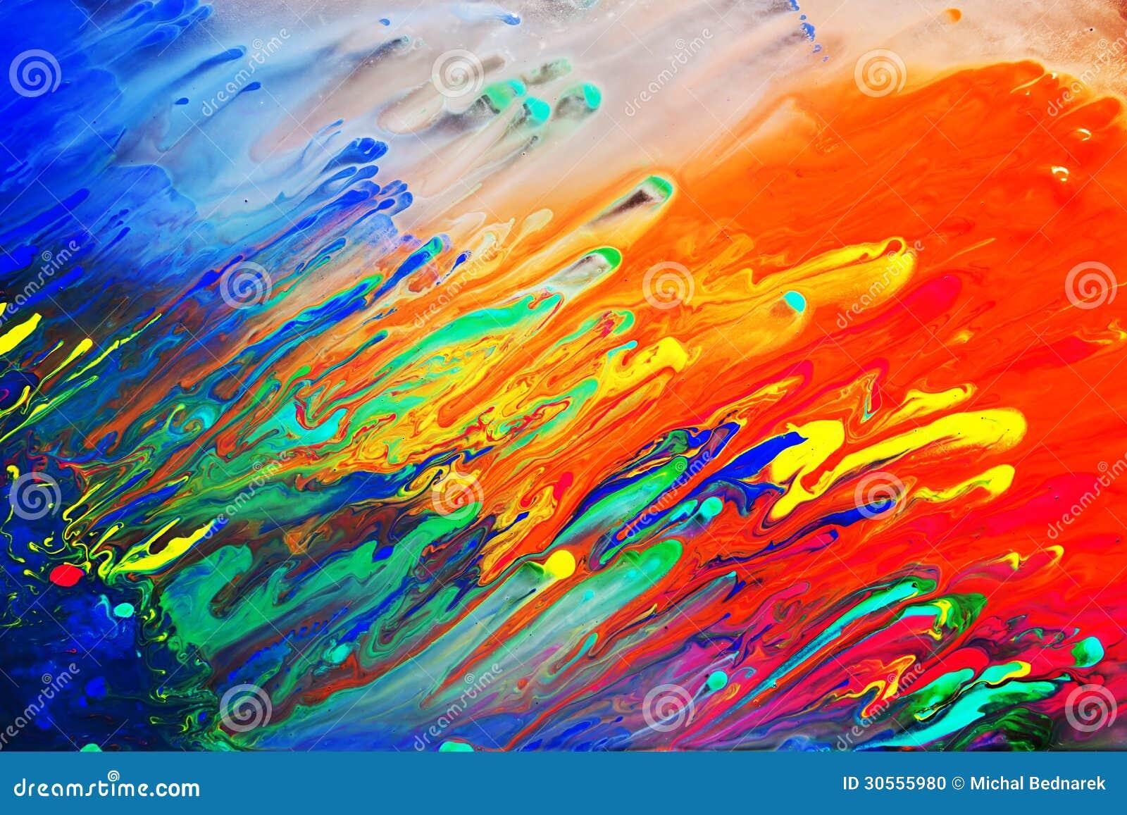 Peinture acrylique abstraite colorée Le mélange dynamique naturel