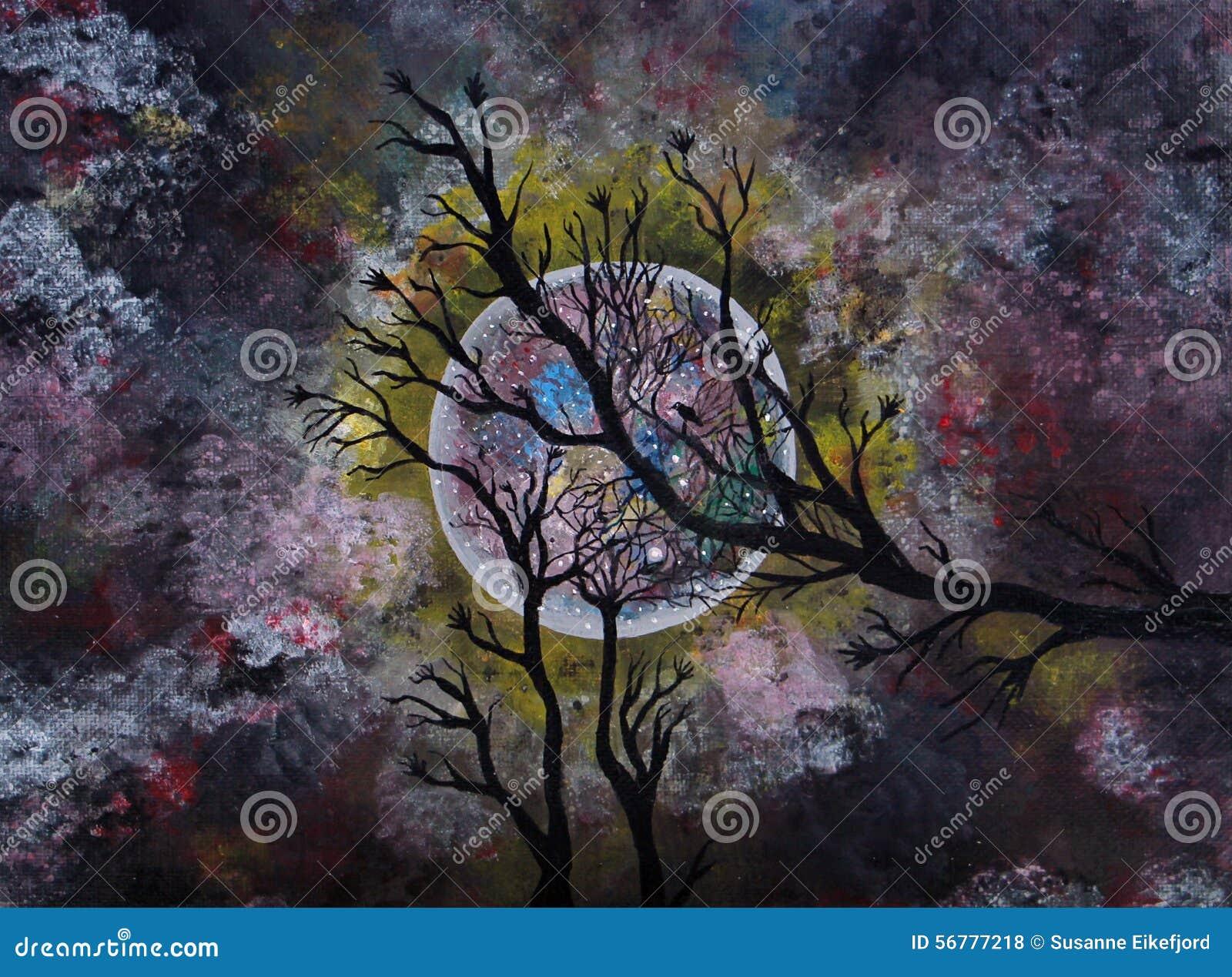 Peinture acrylique de clair de lune illustration stock image 56777218 for Peinture sur peinture