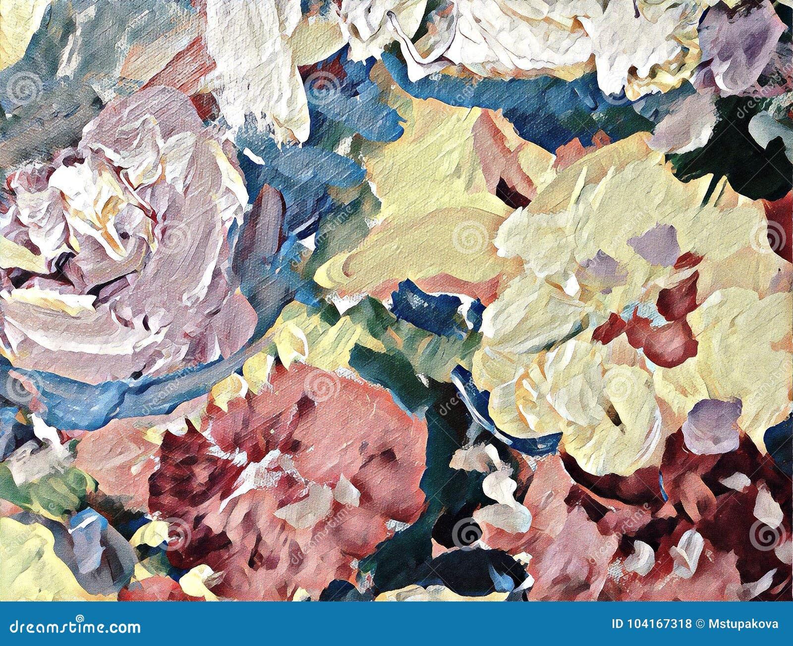 Peinture Acrylique Stylisée Sur La Toile Texturisée Illustration