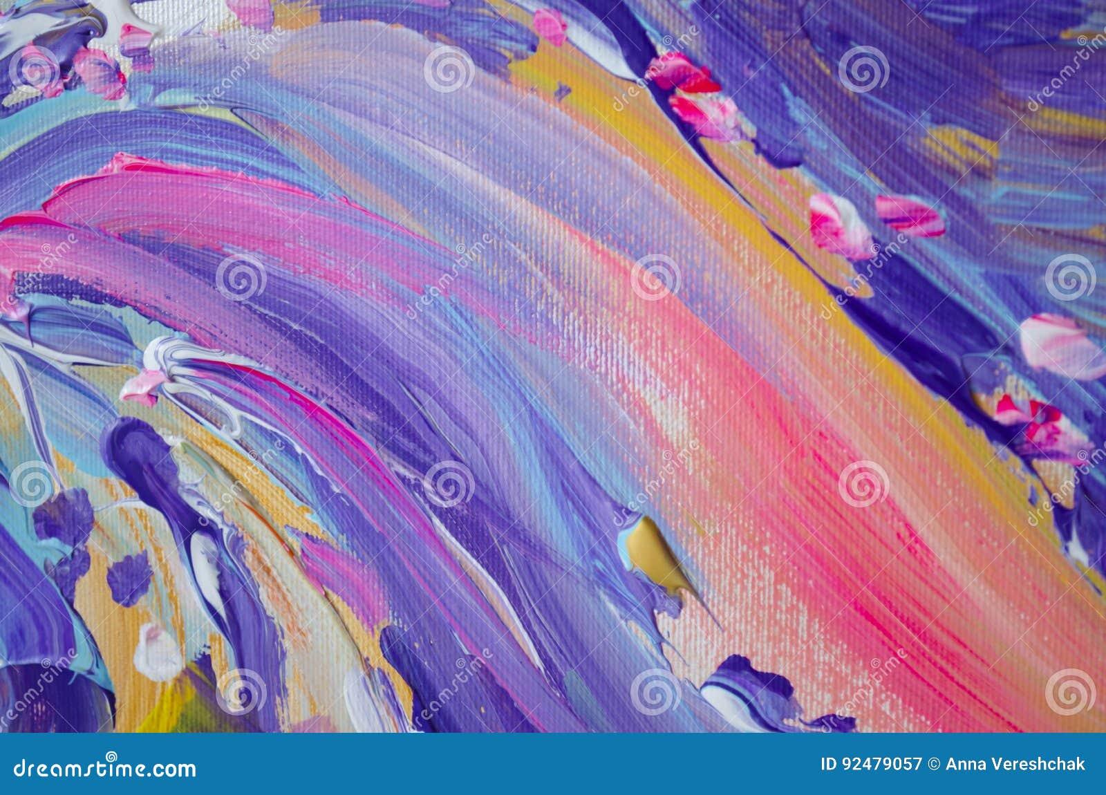 Peinture acrylique tirée par la main Fond d art abstrait Peinture acrylique sur la toile Texture de couleur Fragment d illustrati