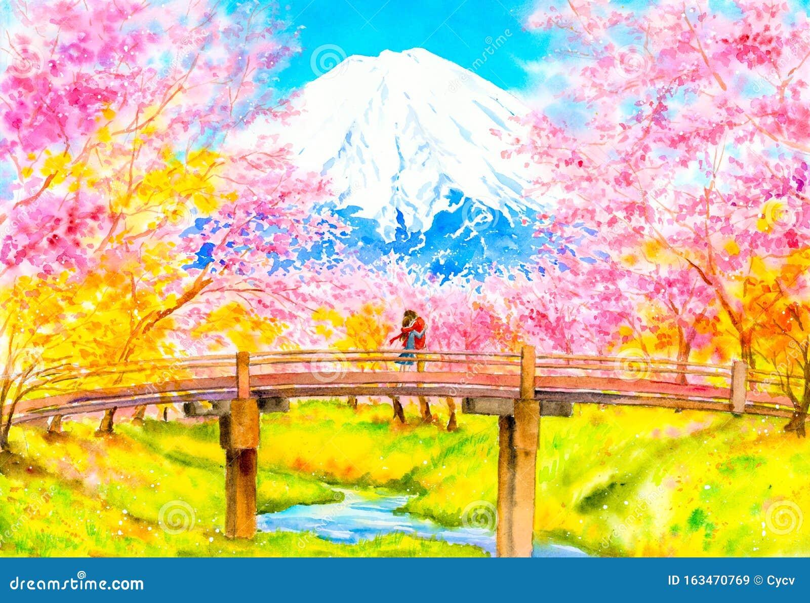 Peinture Aquarelle Couple Aux Fleurs De Cerisiers Au Mont Fuji Japon Illustration Stock Illustration Du Mont Fleurs 163470769