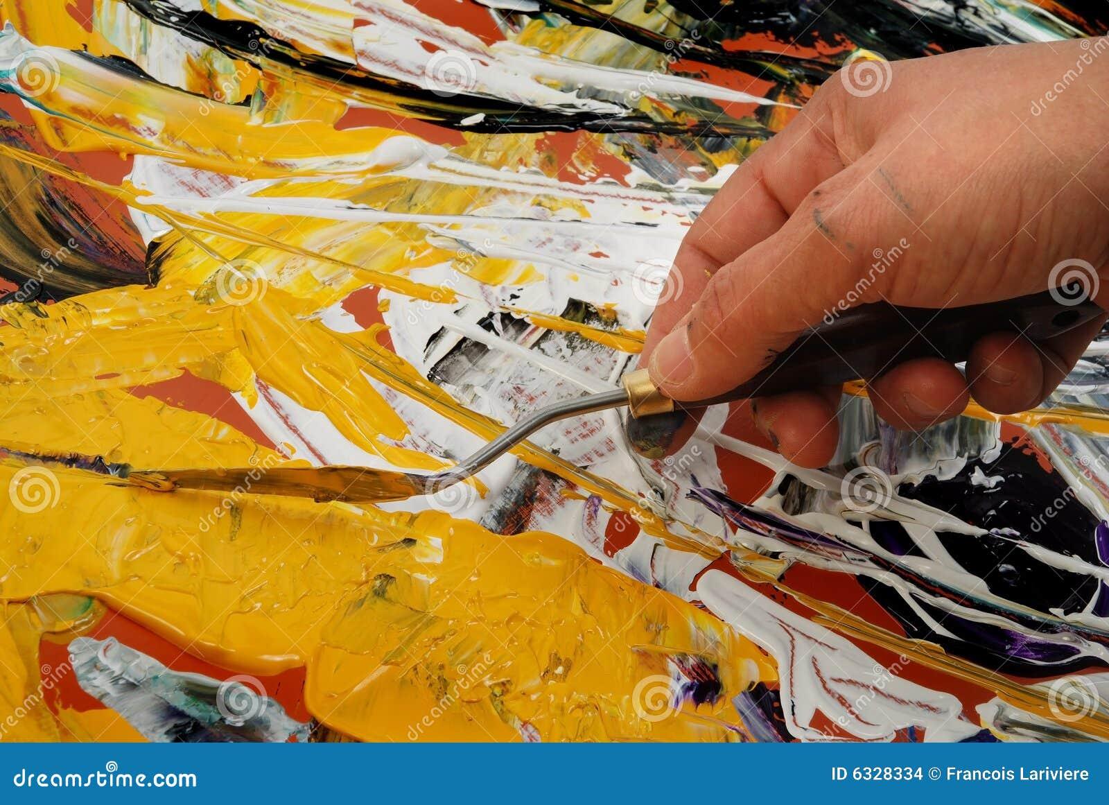 peinture avec la spatule images stock image 6328334