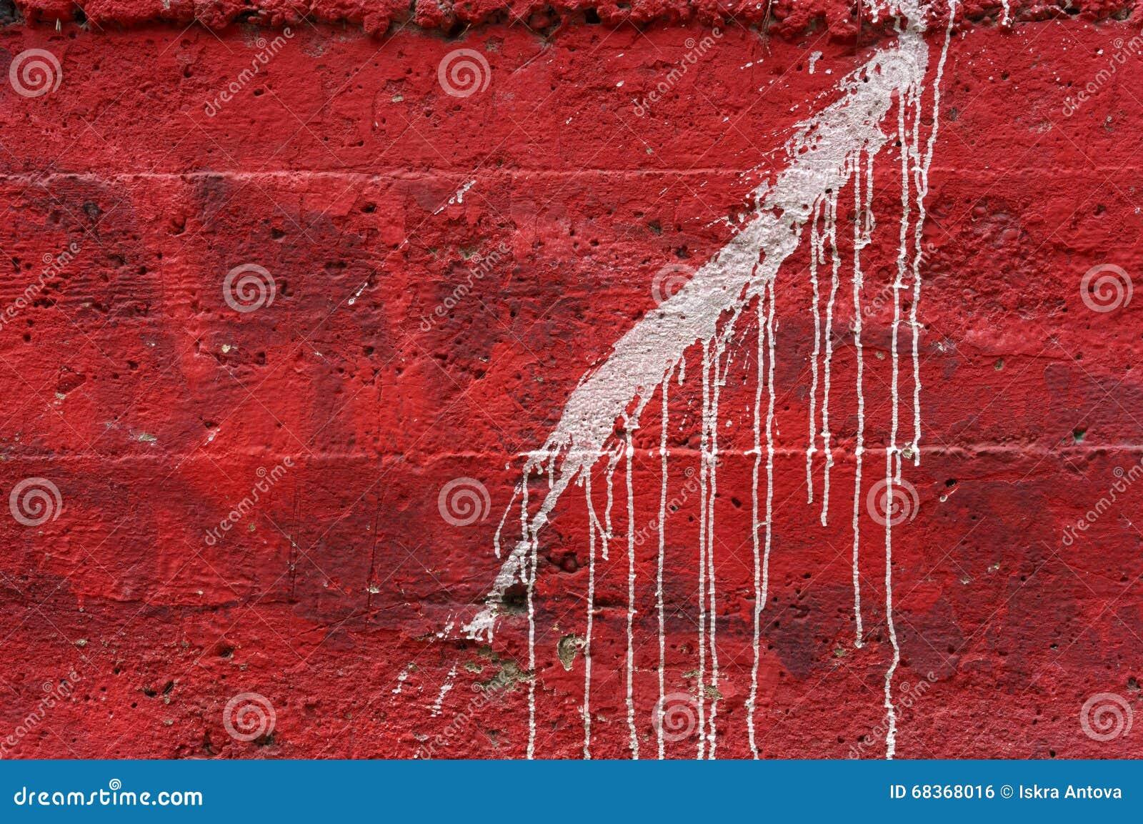 Peinture Blanche D égoutture Sur Le Mur En Béton Rouge Vif 1