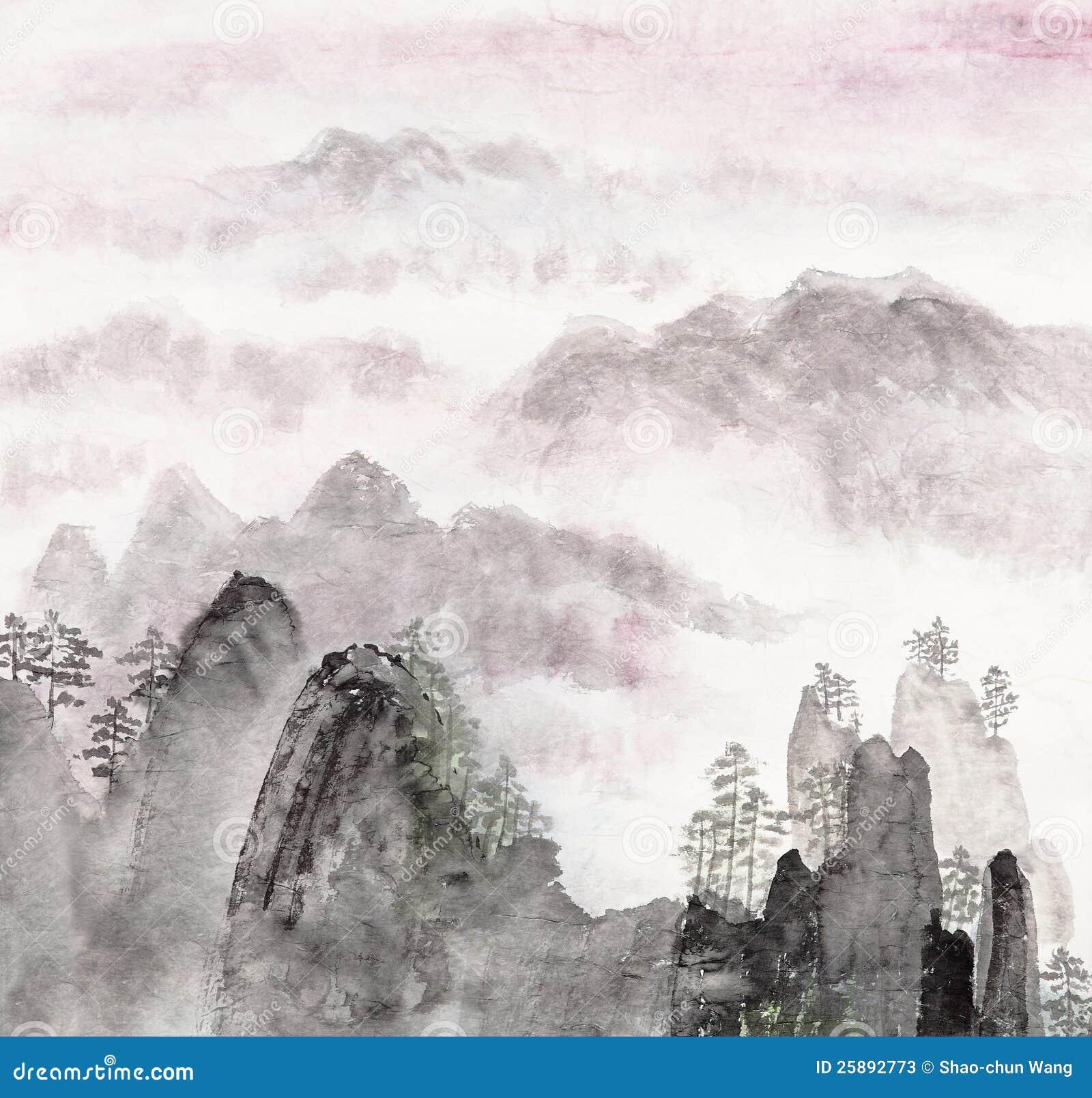 Peinture chinoise d horizontal de haute montagne