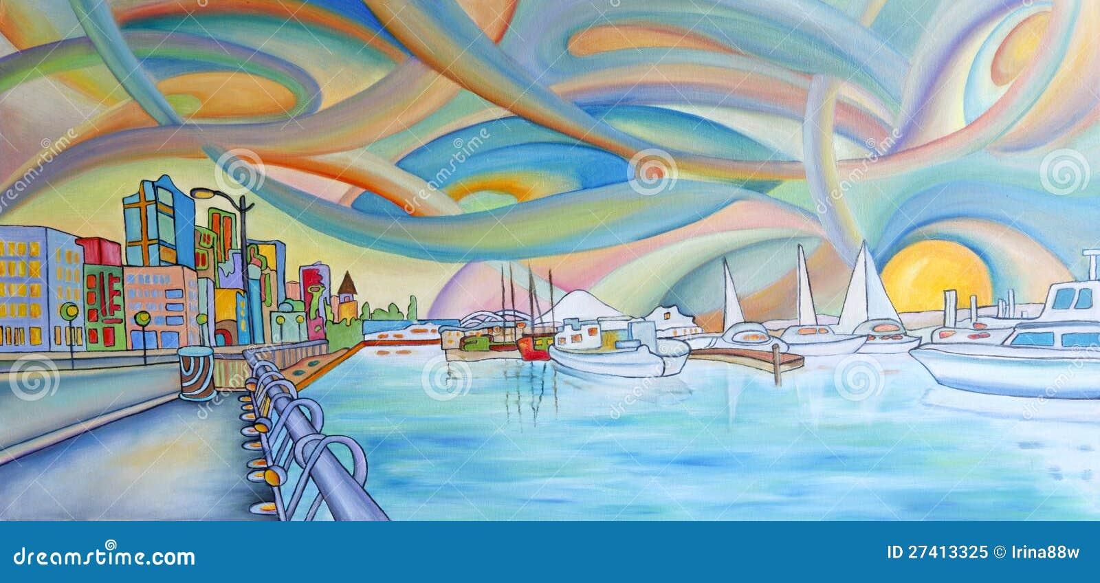 Peinture Colorée Moderne De Ville De Seattle Illustration Stock