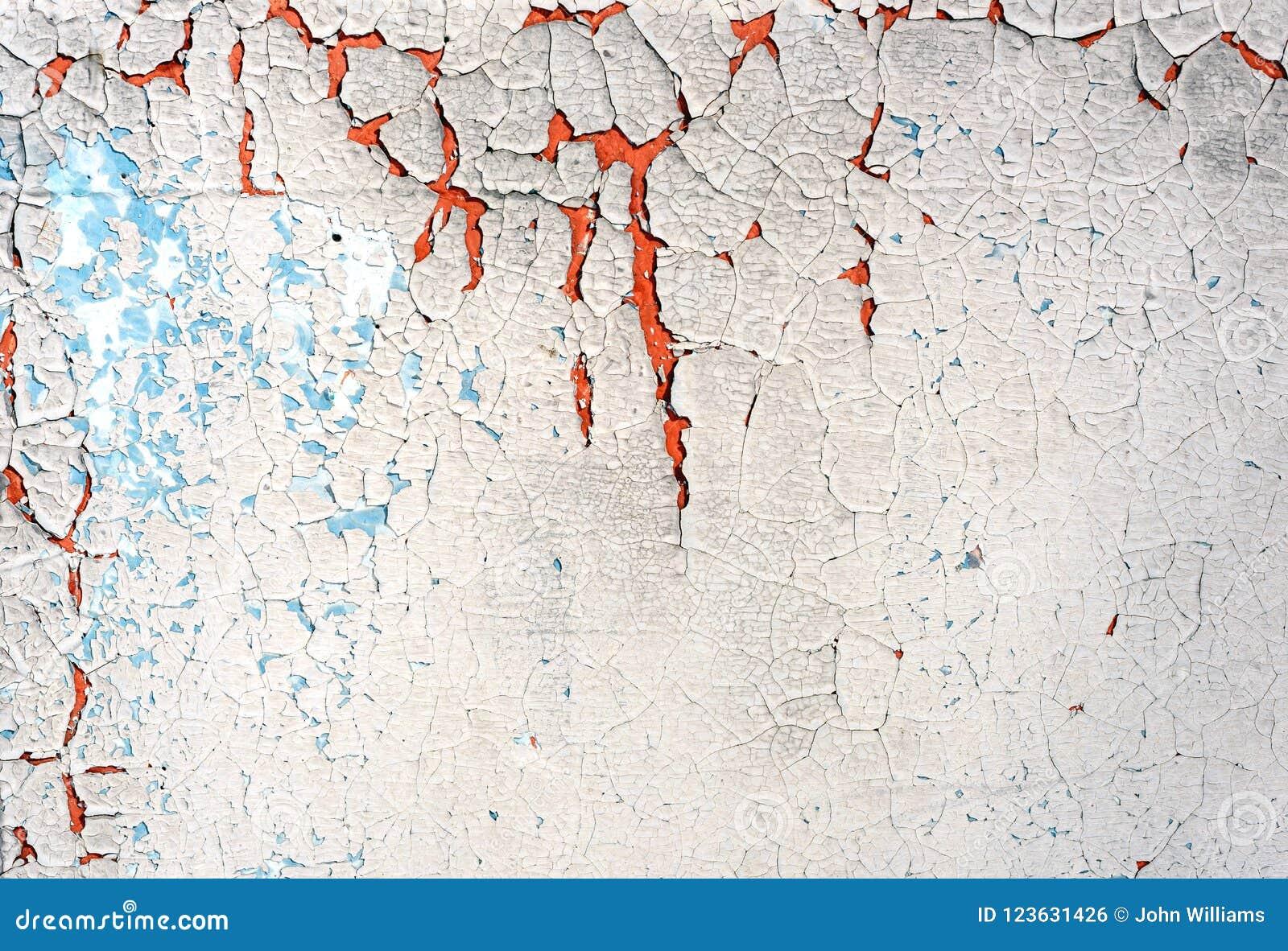 Peinture Criquée Et Plâtre De Vieil épluchage Blanc Bleu Photo Stock