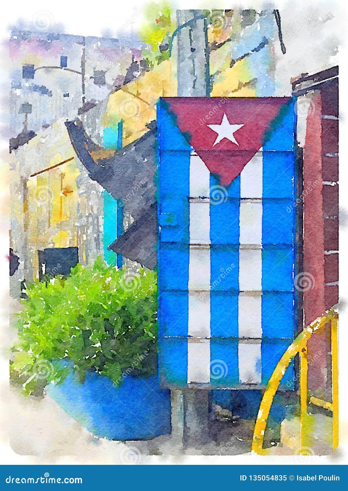 Peinture cubaine de drapeau sur la porte