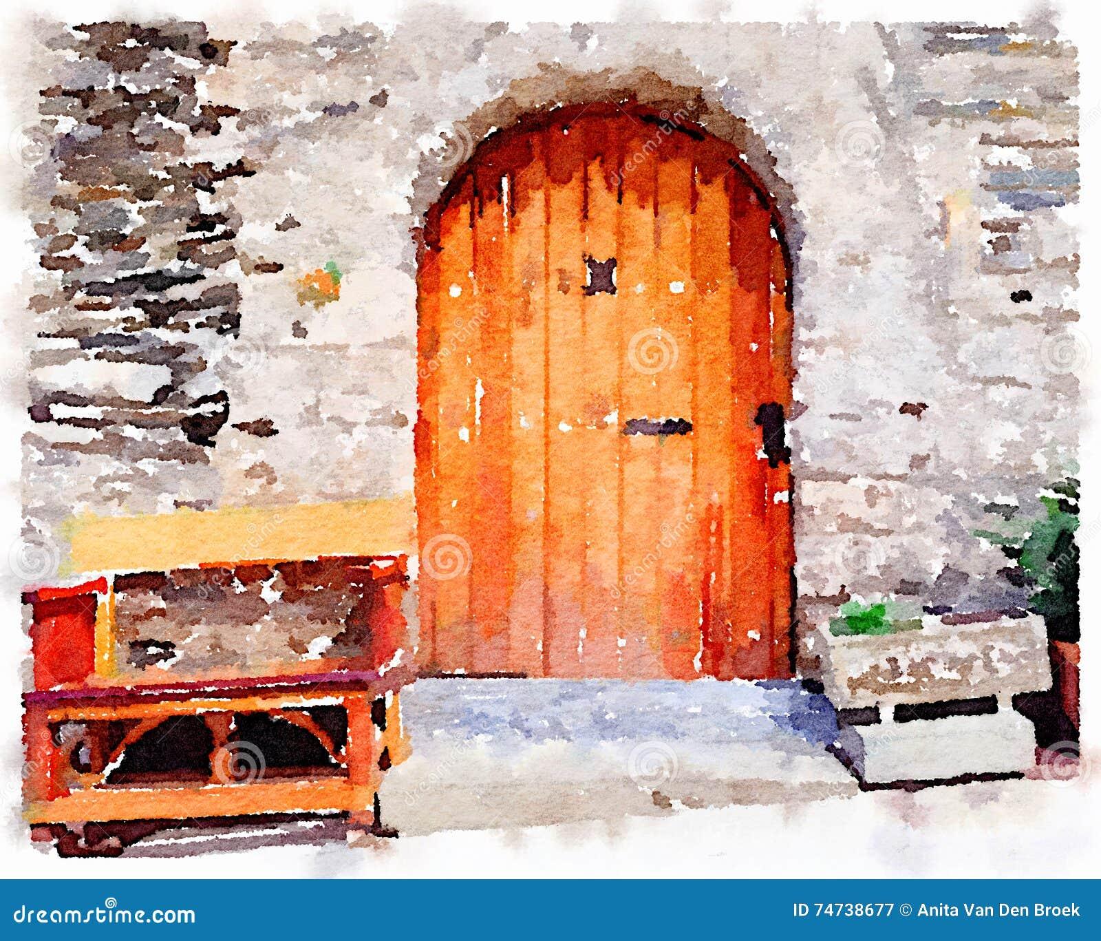 Peinture d 39 aquarelle d 39 une vieille porte en bois en for Peinture porte en bois