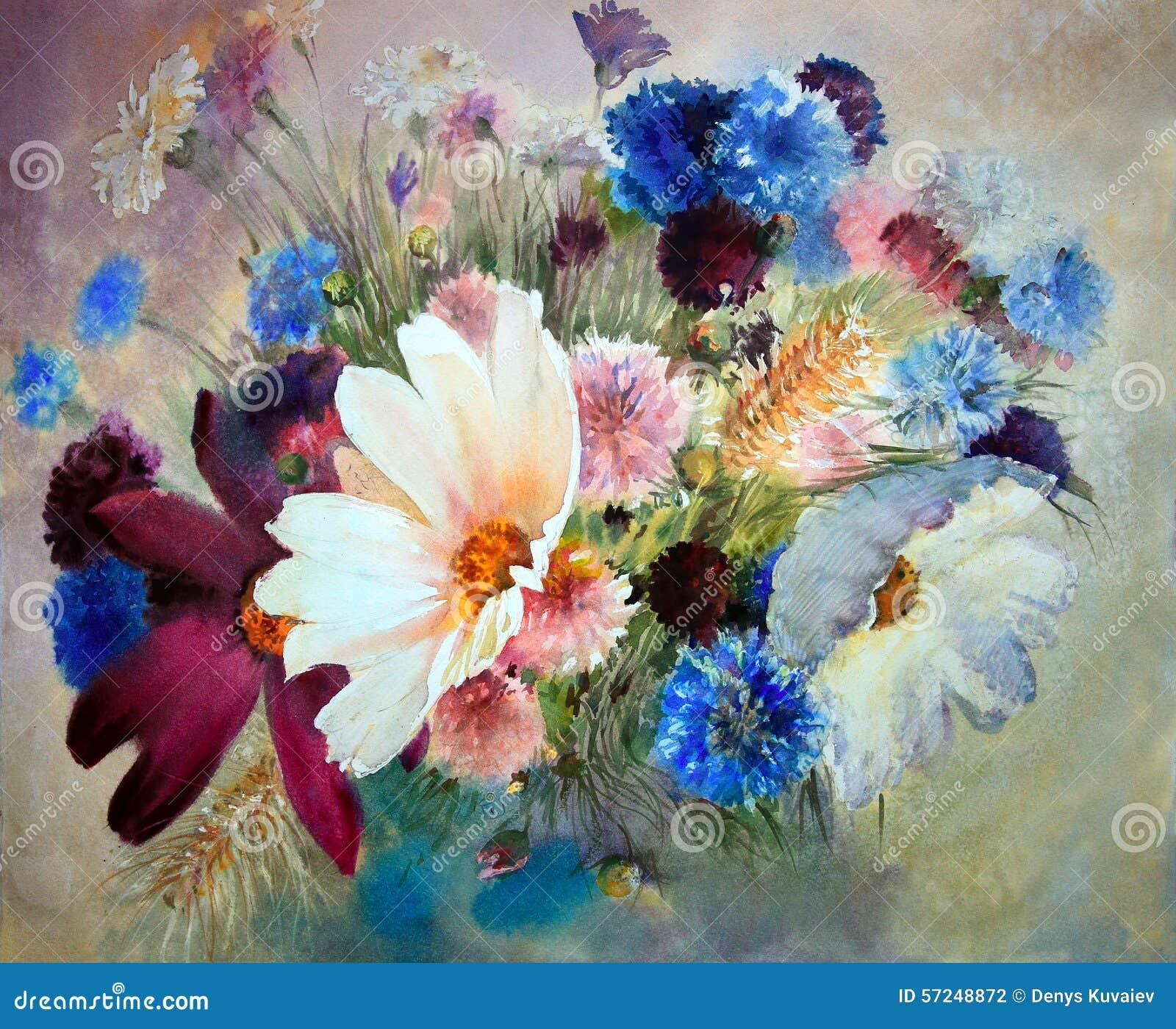 peinture d 39 aquarelle de belles fleurs illustration stock image 57248872. Black Bedroom Furniture Sets. Home Design Ideas