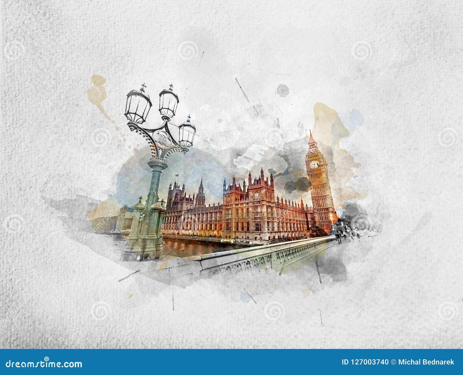 Peinture d aquarelle de Big Ben, Londres le R-U