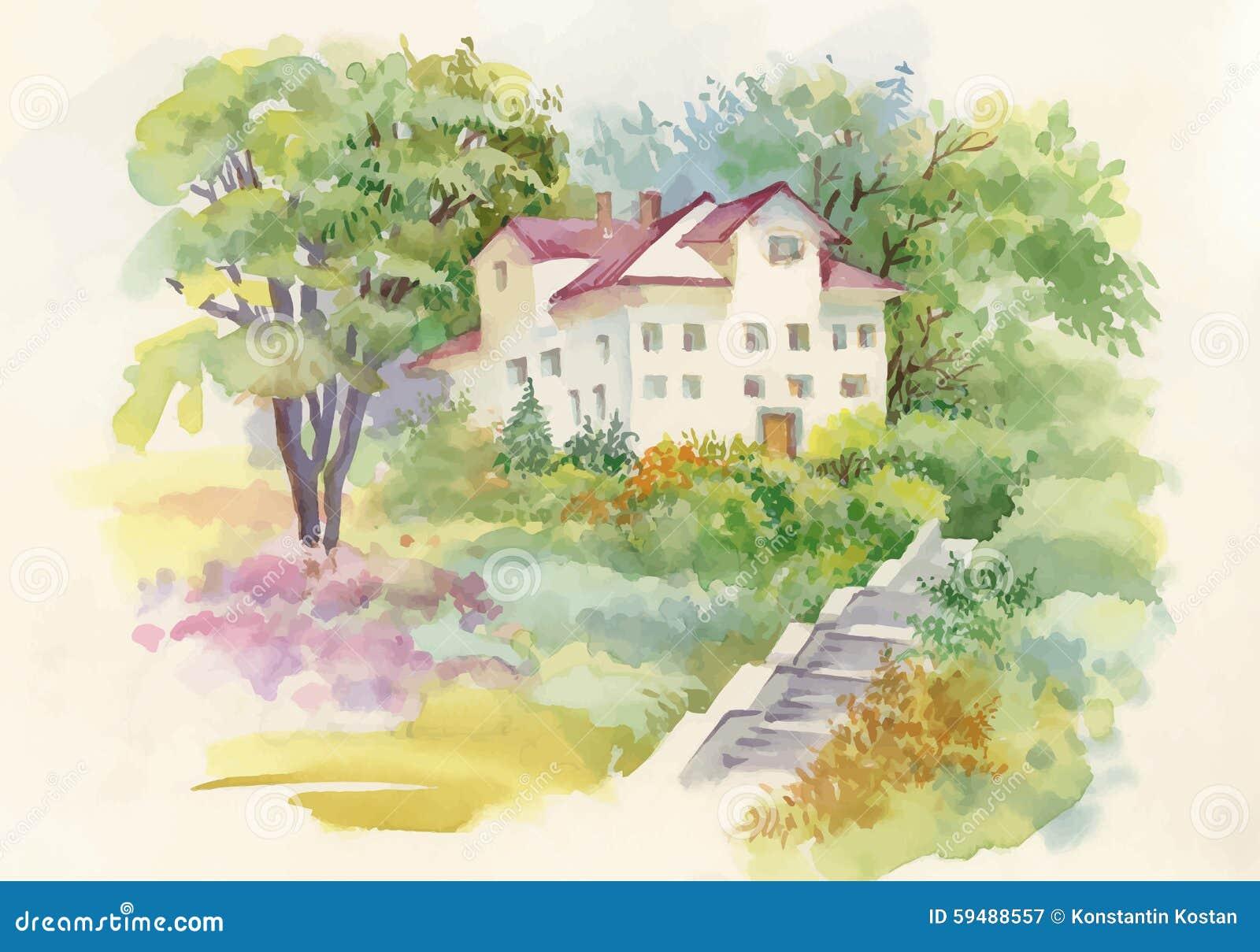 Peinture d 39 aquarelle de maison dans l 39 illustration en bois for Aquarelle maison