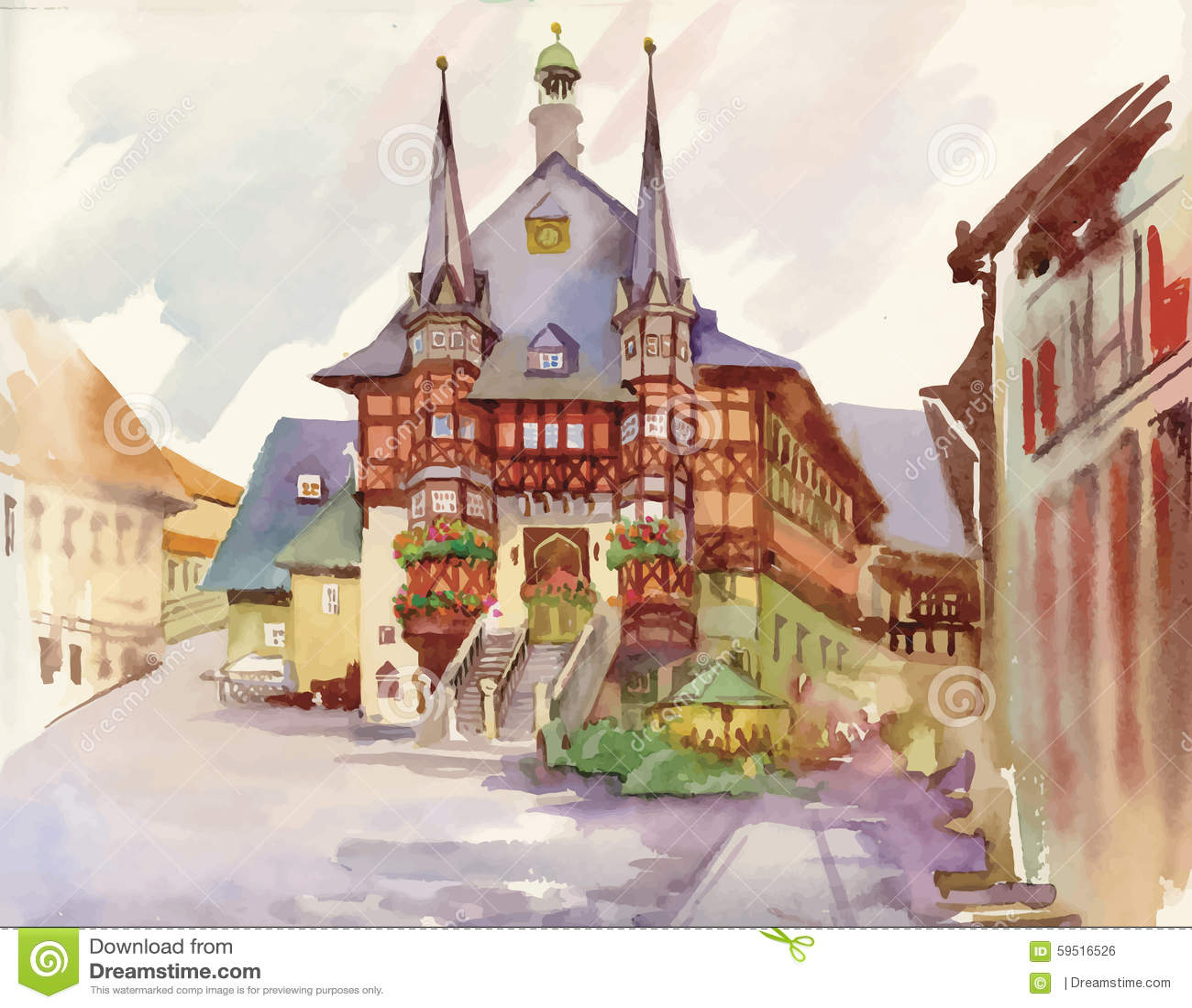 Peinture d 39 aquarelle de maison dans l 39 illustration en bois for Aquarelle maison de retraite