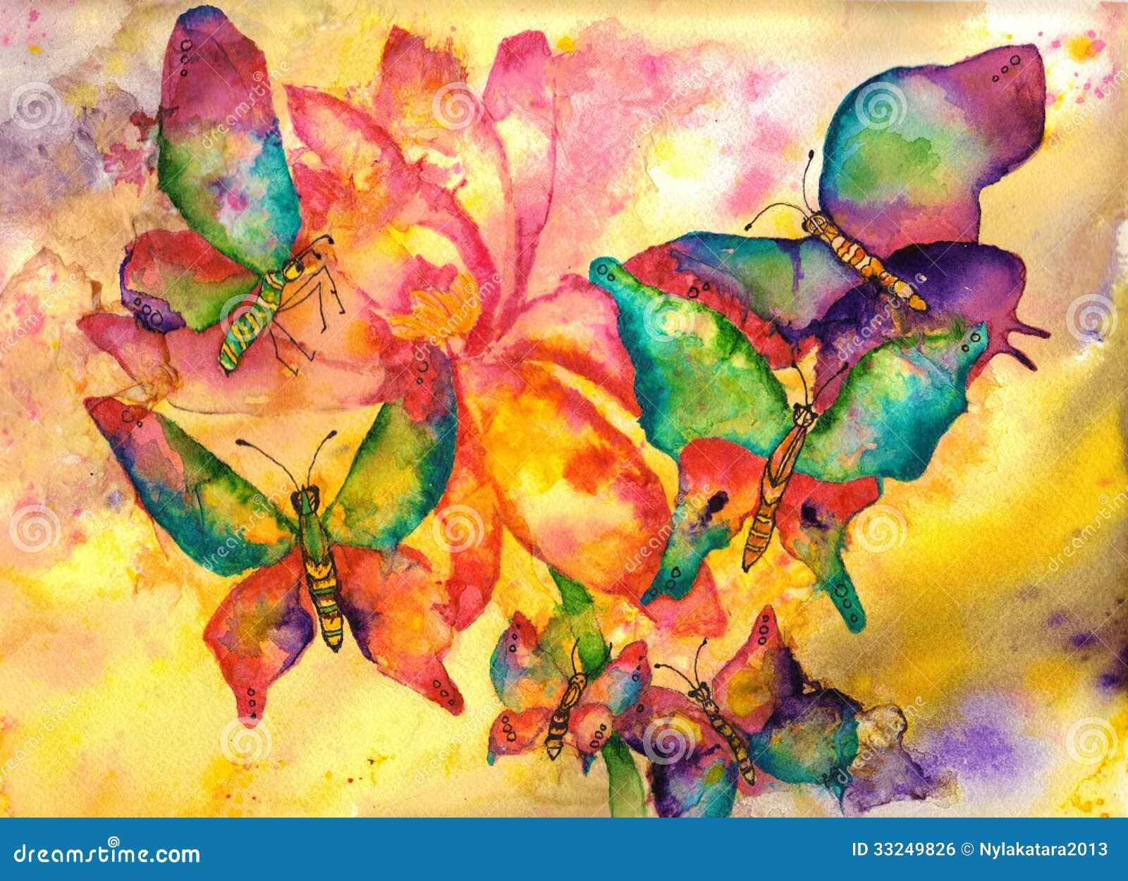 peinture d 39 aquarelle de papillons image libre de droits image 33249826. Black Bedroom Furniture Sets. Home Design Ideas