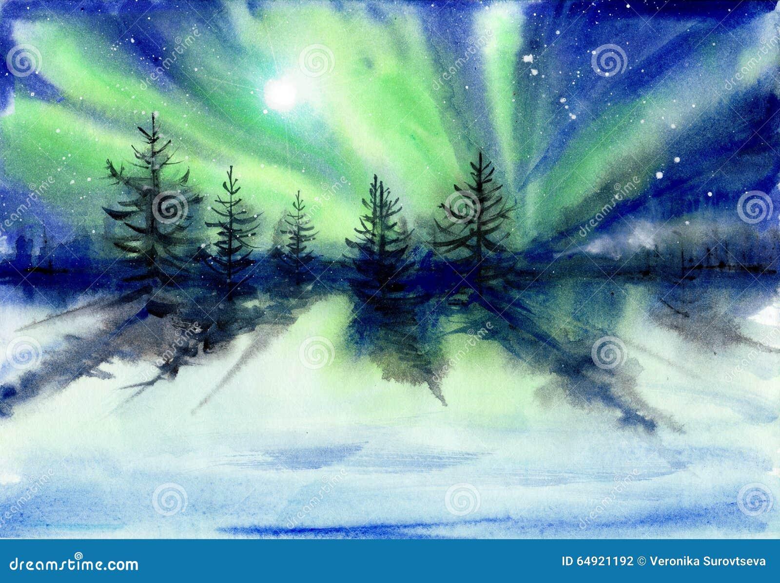 Peinture d aquarelle de paysage de l aurore