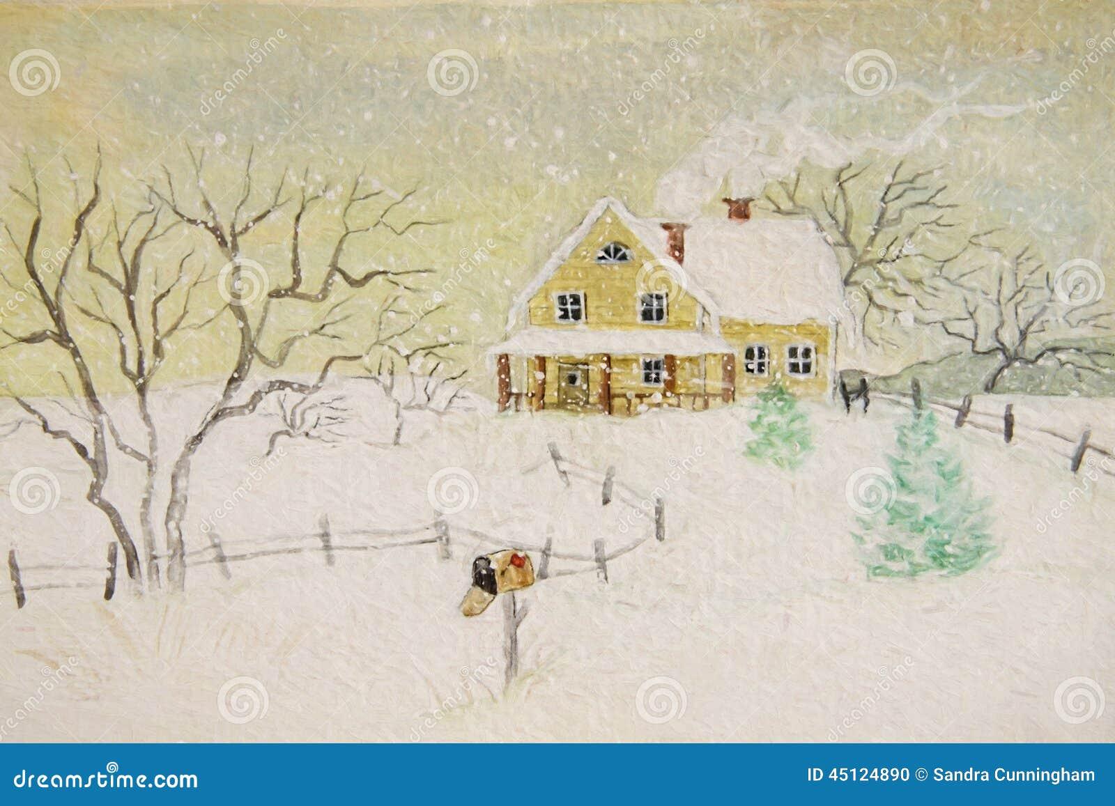 Peinture d 39 hiver de maison avec la bo te aux lettres illustration stock image 45124890 - La maison de la peinture ...