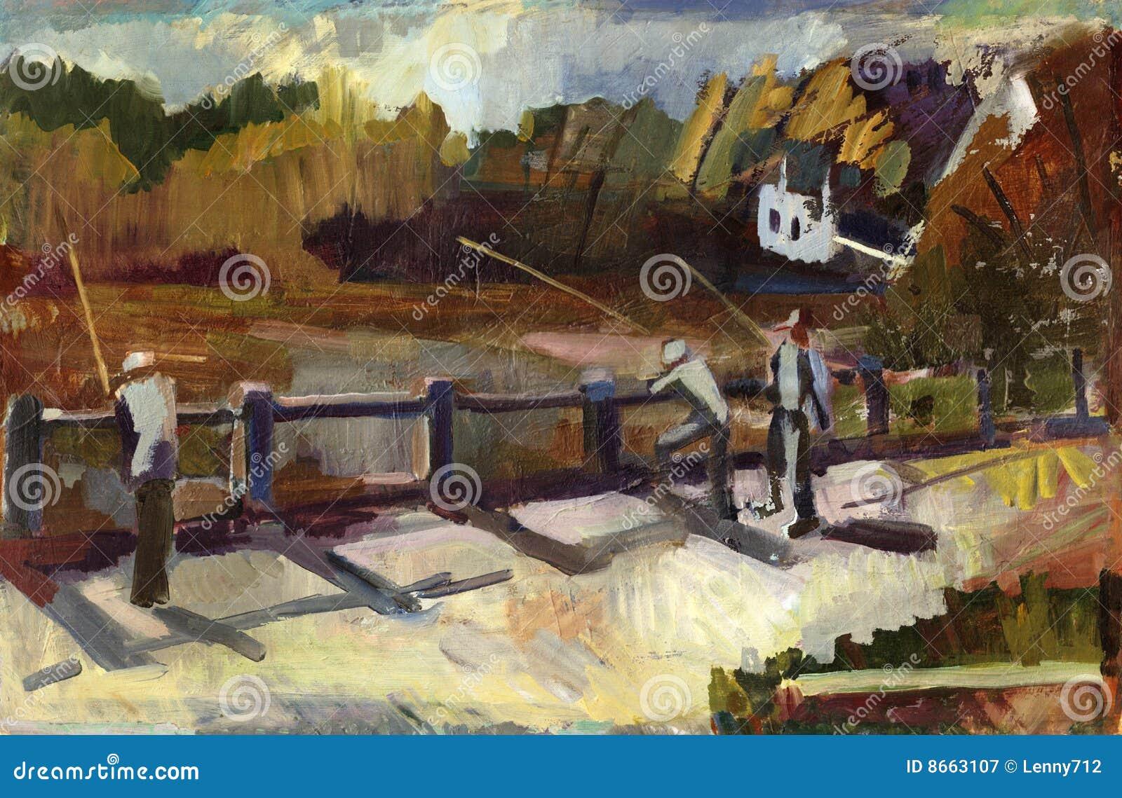 Peinture d horizontal