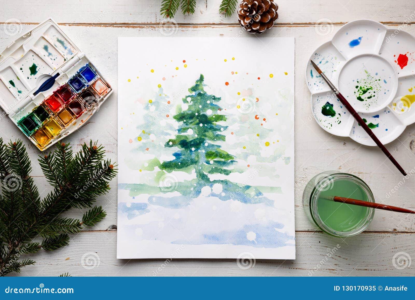 Peinture D'une Carte De Noël De DIY Avec L'aquarelle Illustration