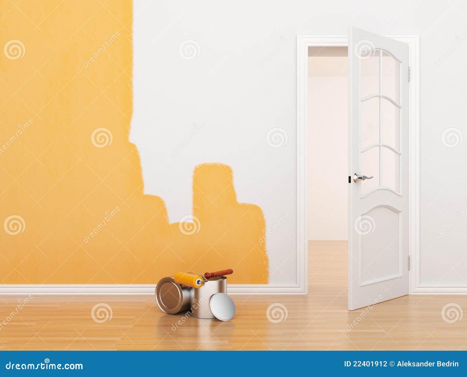 Peinture d 39 une salle vide maison de r novation 3d photographie stock - Peinture d une maison ...