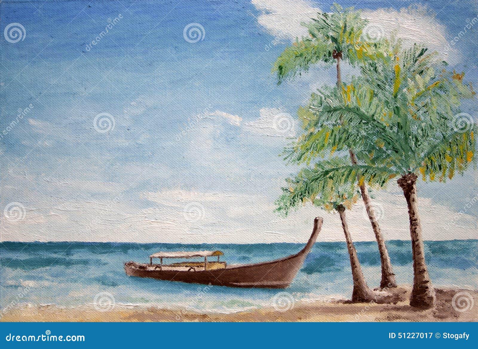 peinture de bateau et de palmiers photo stock image. Black Bedroom Furniture Sets. Home Design Ideas