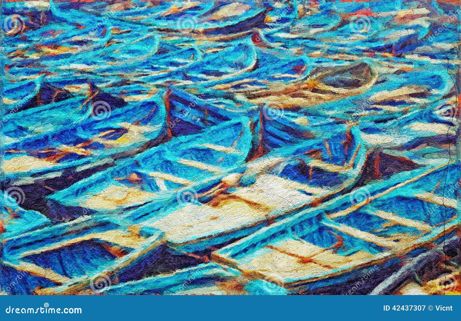 peinture de bateaux de p che illustration stock image 42437307. Black Bedroom Furniture Sets. Home Design Ideas