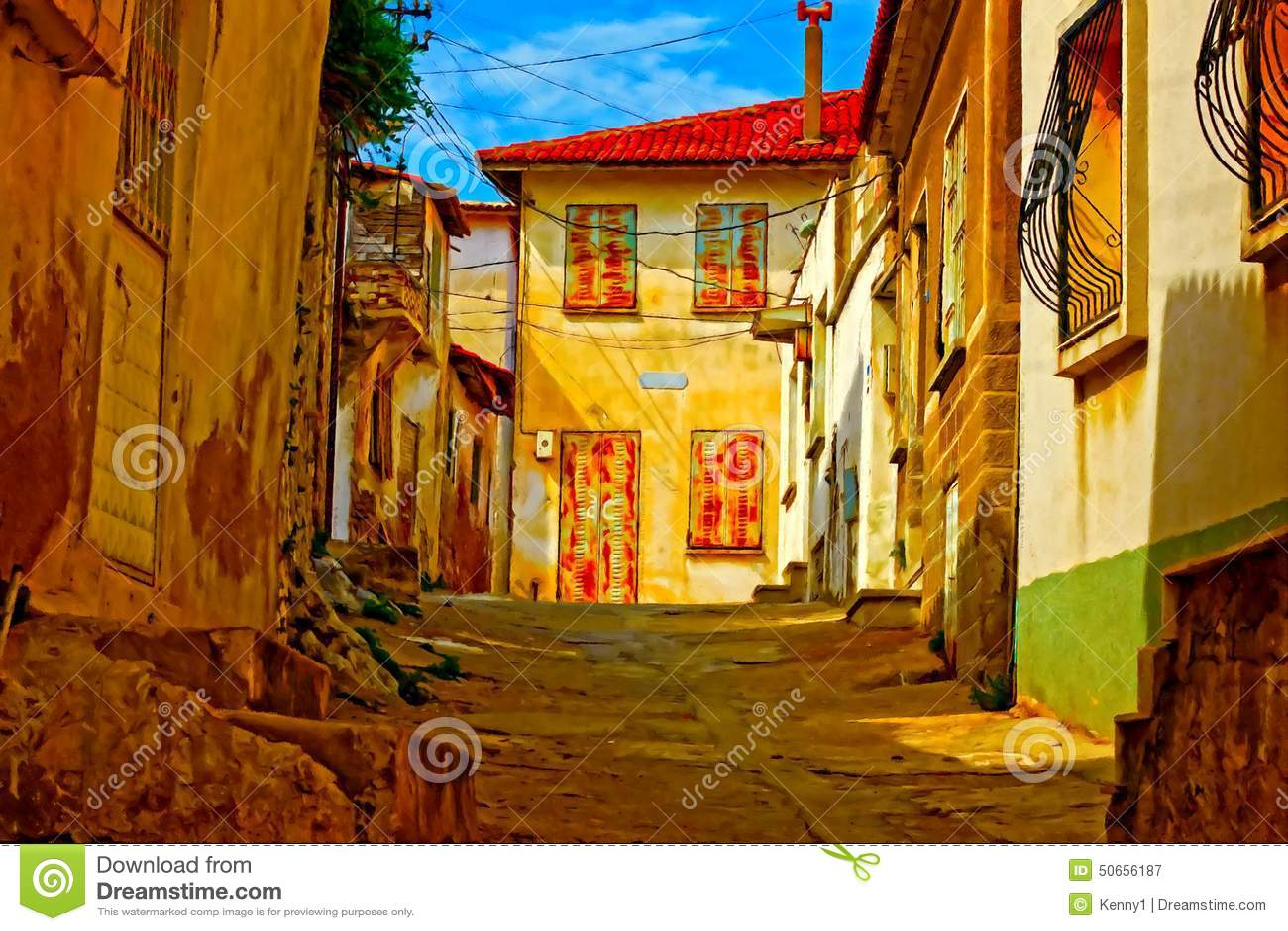 peinture de digital d 39 une rue turque de village illustration stock illustration du digital. Black Bedroom Furniture Sets. Home Design Ideas