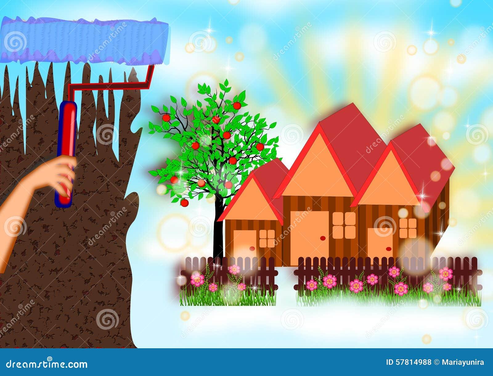 Peinture de la nouvelle maison r veuse illustration stock image 57814988 for Peinture de la maison