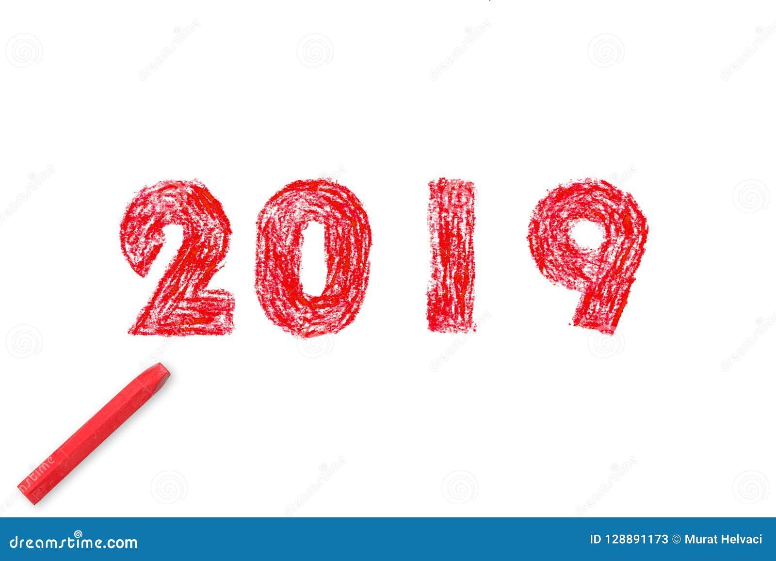 Peinture de main de la nouvelle année 2019 et peinture à l huile en pastel