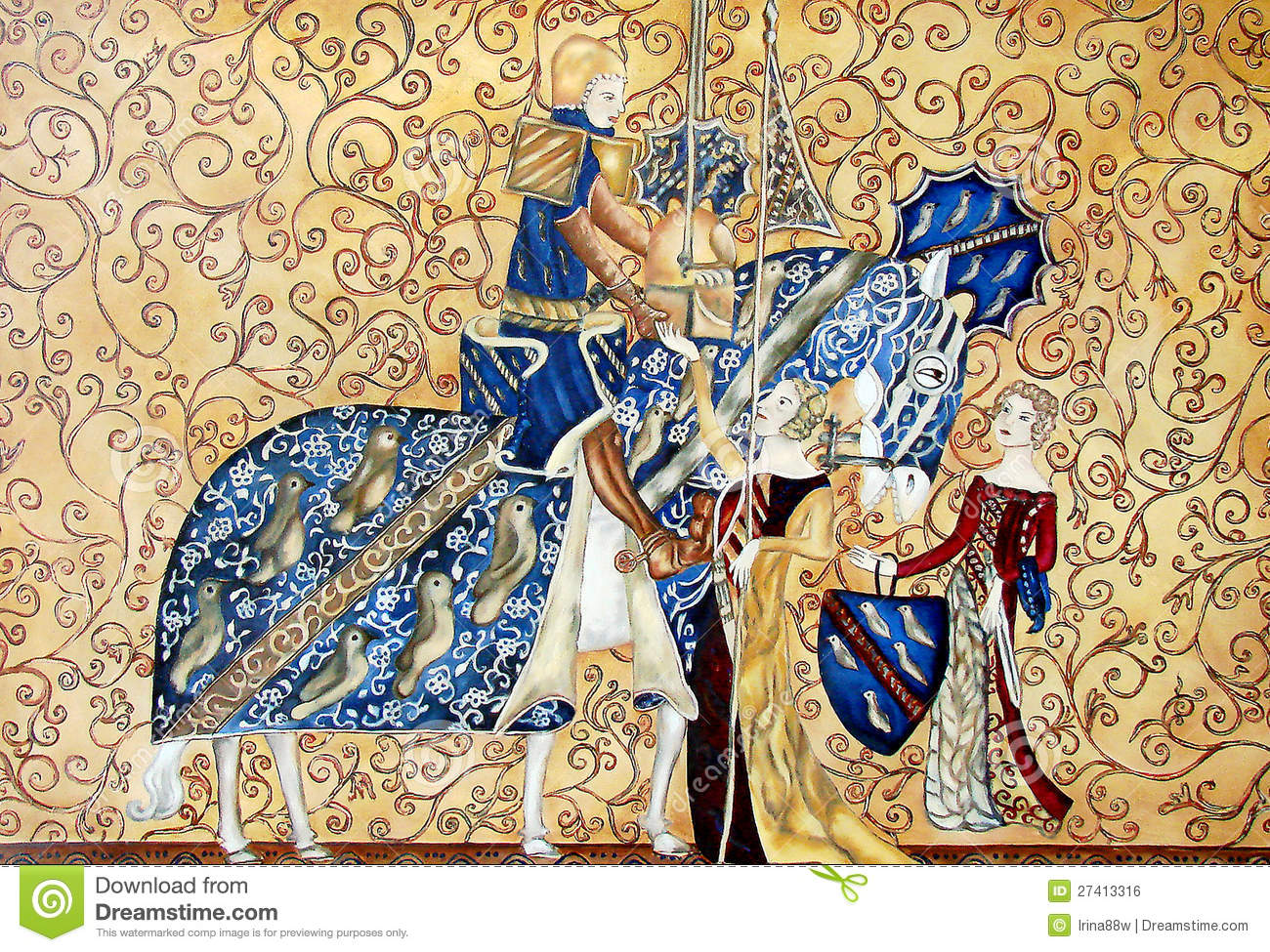 peinture de medival de roi et de reine avec le cheval bleu illustration stock illustration du. Black Bedroom Furniture Sets. Home Design Ideas