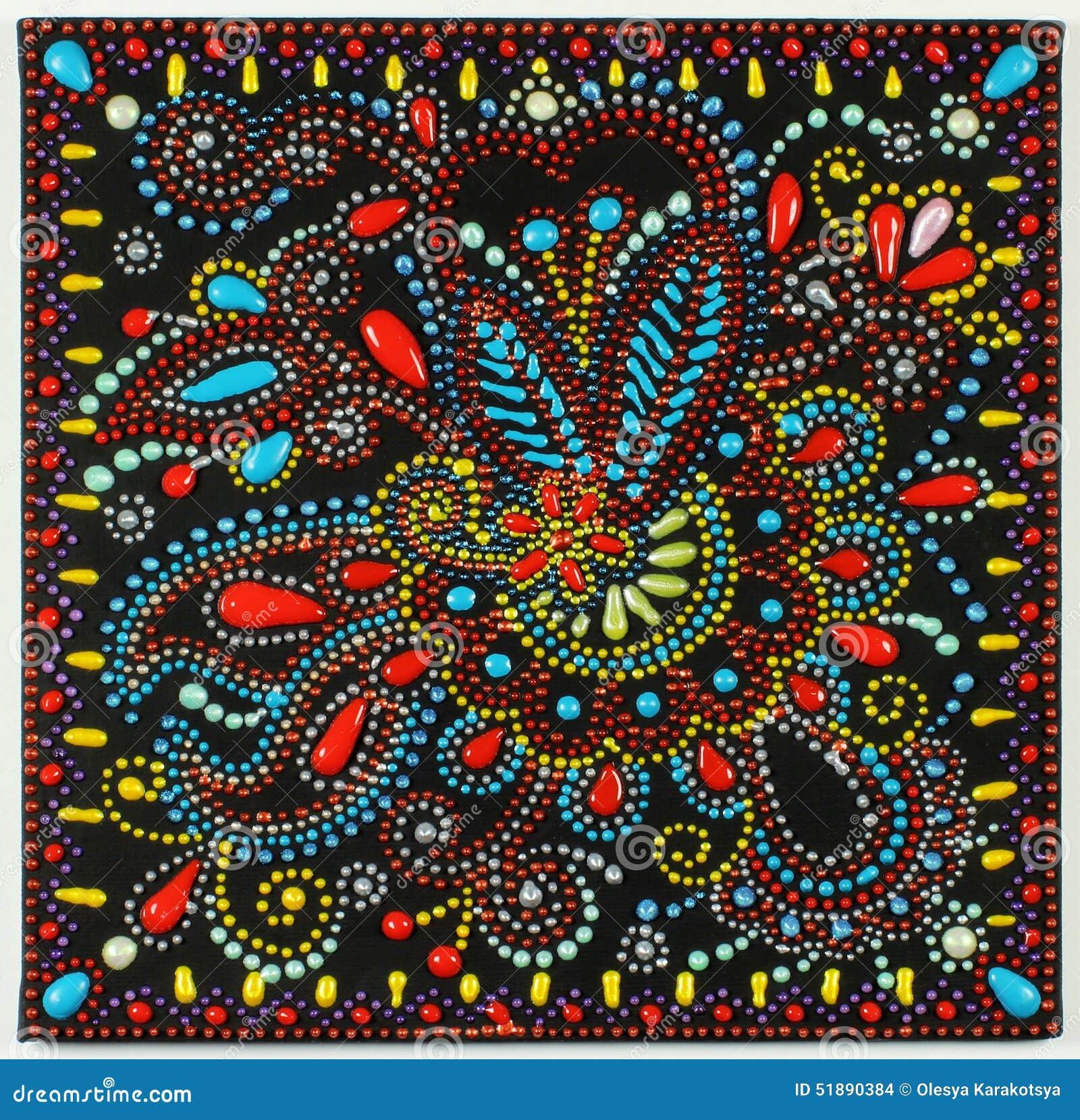 peinture de point d 39 art traditionnel sur le fond noir illustration stock illustration du d cor. Black Bedroom Furniture Sets. Home Design Ideas