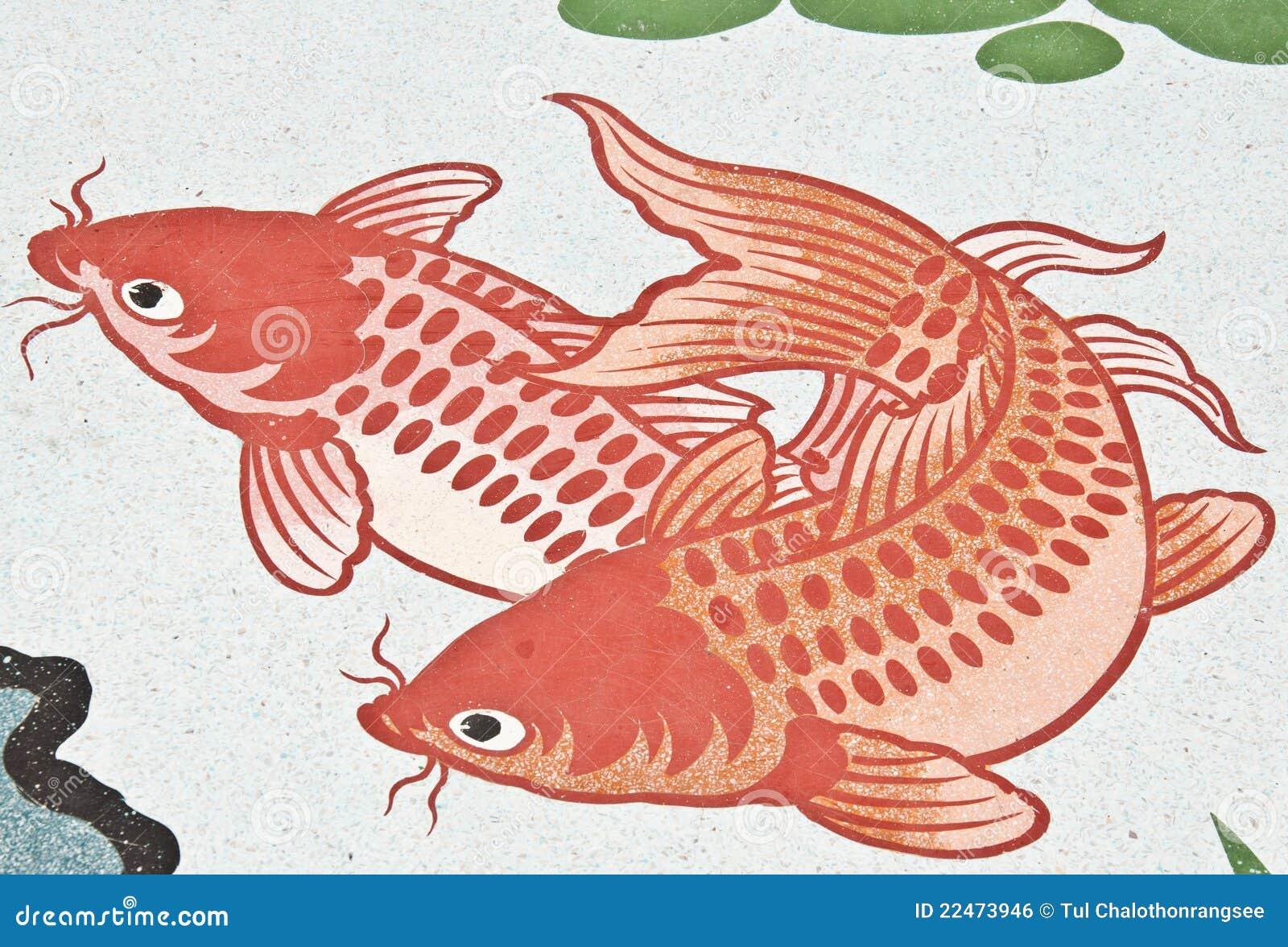 peinture de poissons sur le mur chinois de temple. Black Bedroom Furniture Sets. Home Design Ideas
