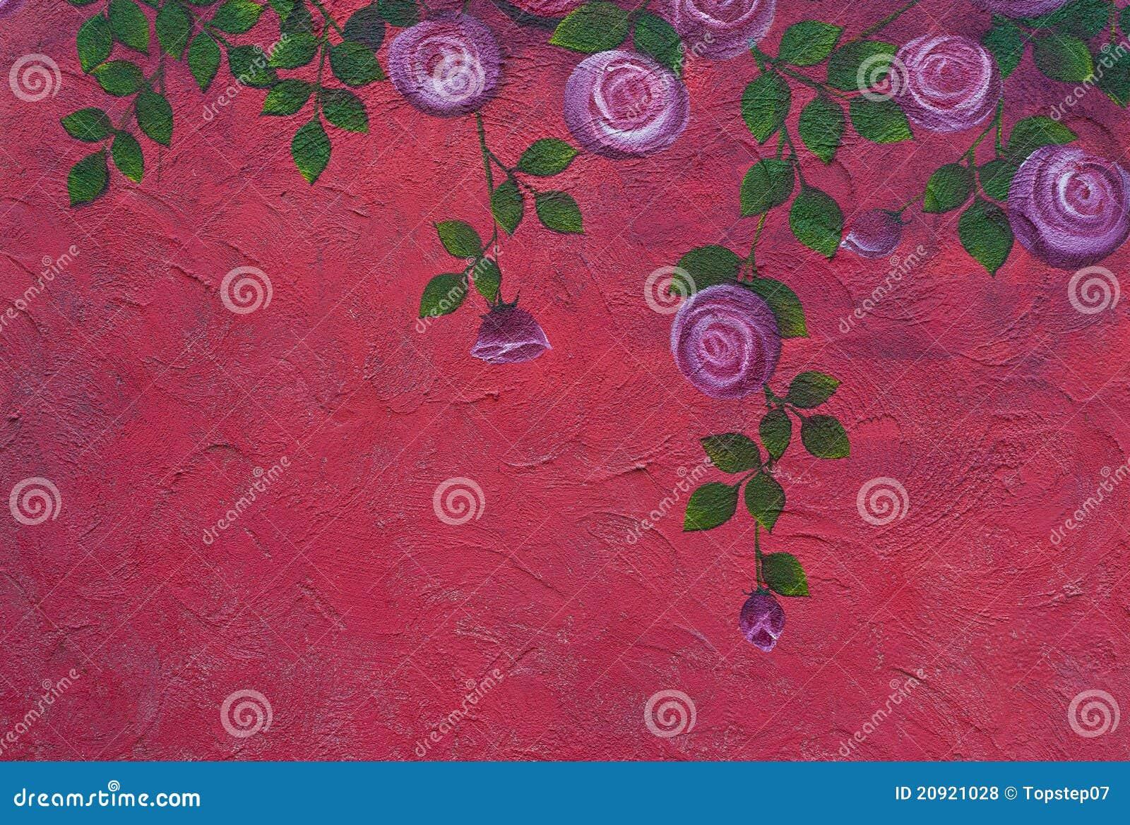 Peinture de rose sur le mur photos libres de droits image 20921028 - Droit locataire peinture murs ...