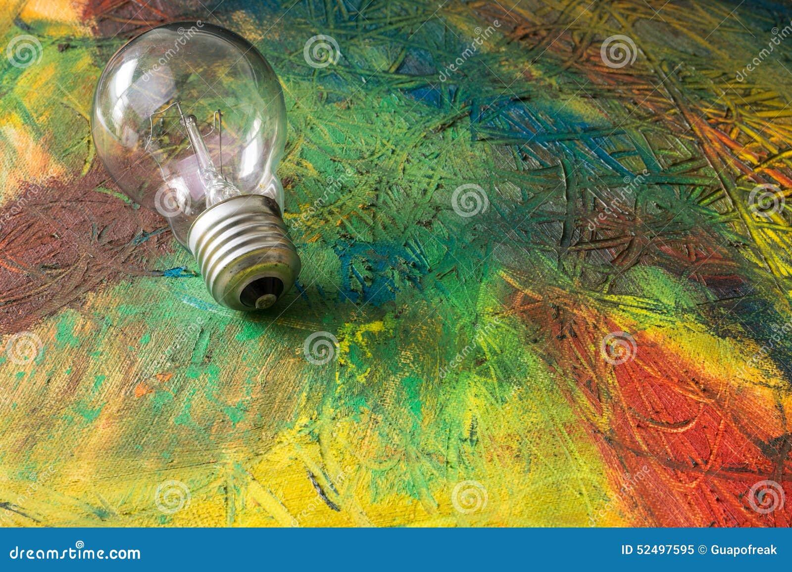 Peinture de r sum avec l 39 ampoule huile de m lange photo - Melange de peinture ...