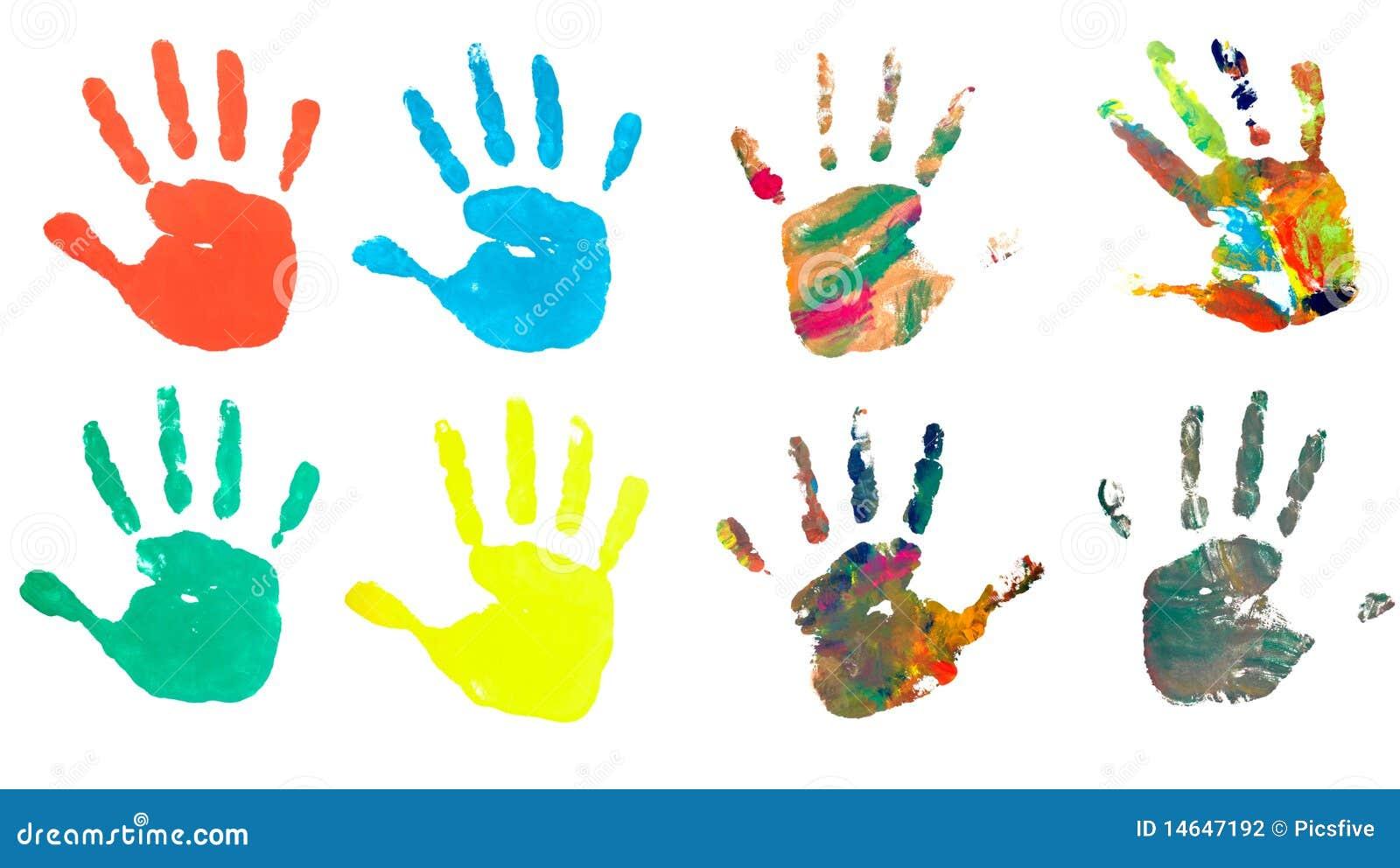 Peinture de trace de m tier d 39 art de couleur d 39 impression de main photographie stock image - Peinture main enfant ...